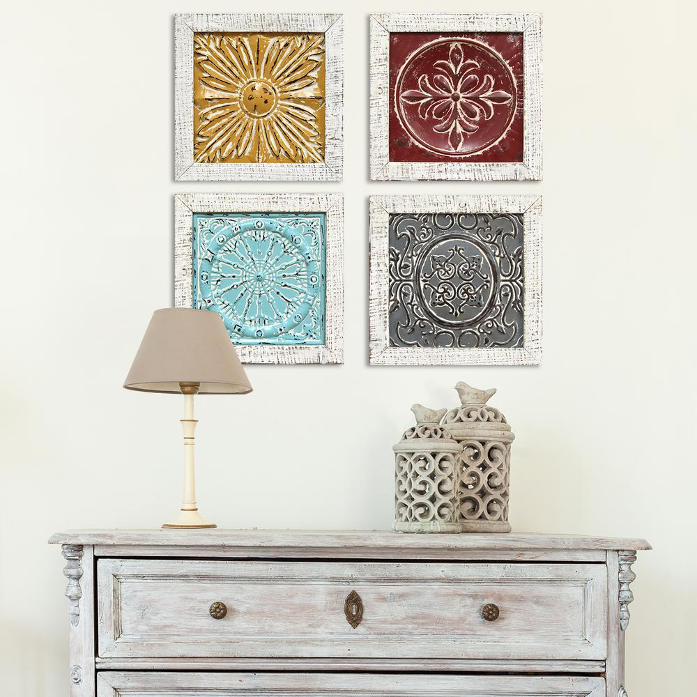 Stratton Home Decor Accent Metal Tile Wall Art (set Of 4 Pertaining To 4 Piece Metal Wall Decor Sets (View 4 of 30)