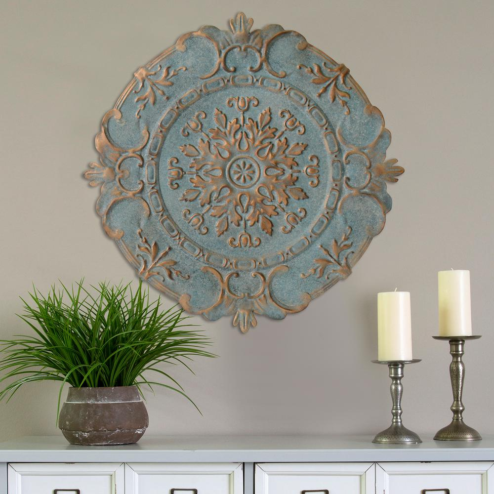 Stratton Home Decor Blue Metal European Medallion Wall Decor with regard to Small Medallion Wall Decor (Image 20 of 30)