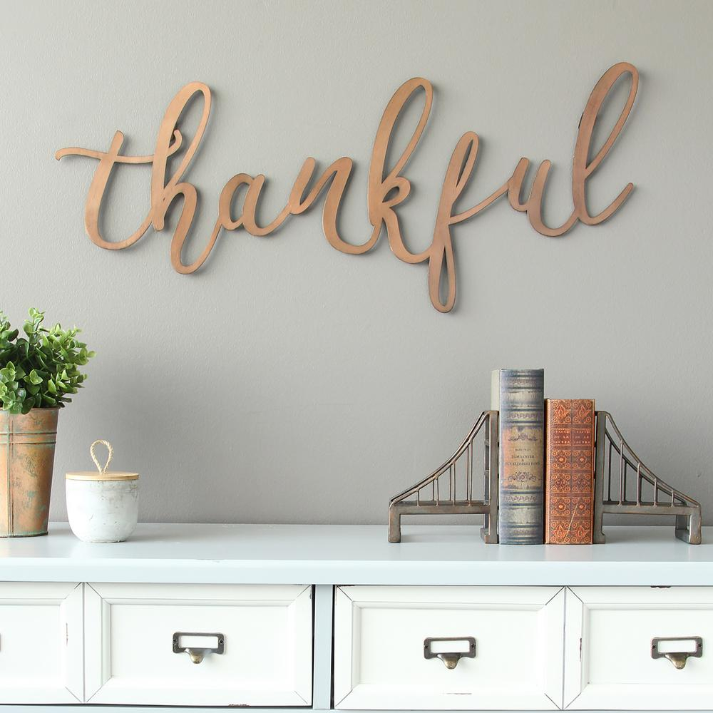 "Stratton Home Decor Bronze ""thankful"" Script Decorative Sign with regard to 3 Piece Wash, Brush, Comb Wall Decor Sets (Set of 3) (Image 23 of 30)"