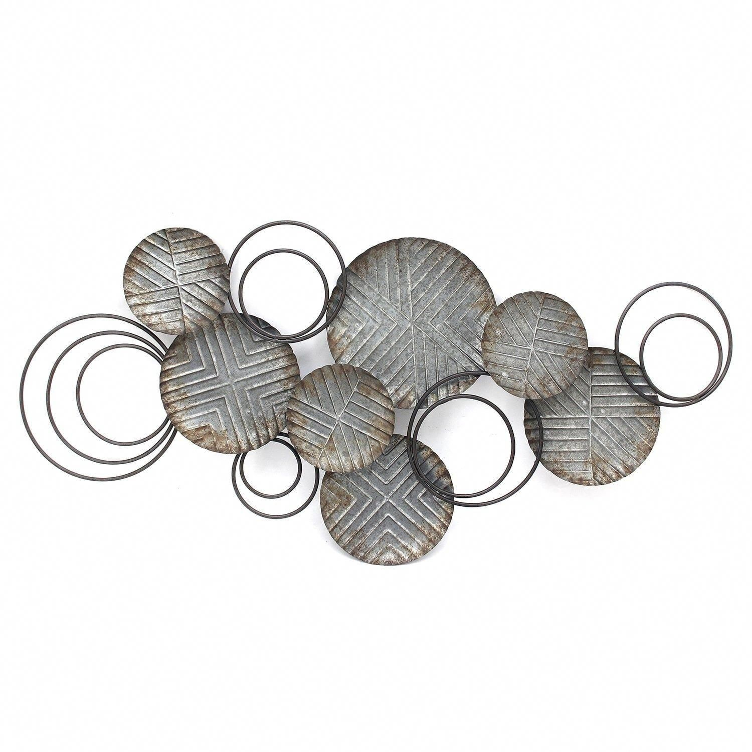 Stratton Home Decor Galvanized Plates Wall Decor, Silver pertaining to Scattered Metal Italian Plates Wall Decor (Image 20 of 30)