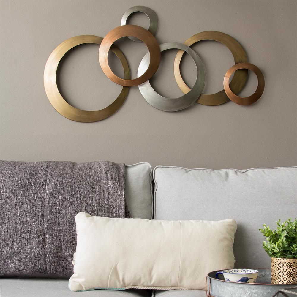 Stratton Home Decor Multi Metallic Rings Metal Wall Decor With Rings Wall Decor (View 5 of 30)