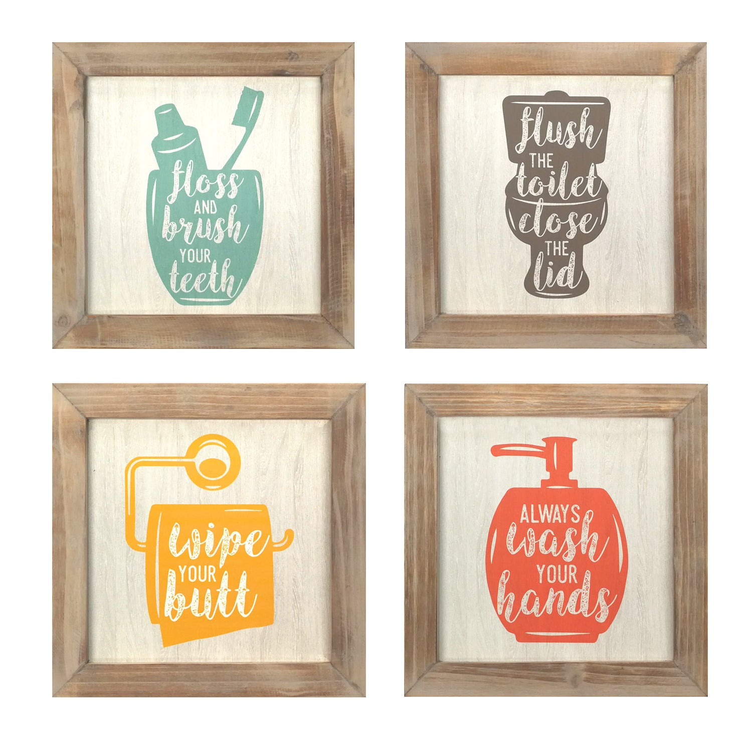 Stratton Home Décor Set Of 4 Floss, Flush, Wipe, Wash Wall Art Intended For 3 Piece Wash, Brush, Comb Wall Decor Sets (set Of 3) (View 21 of 30)
