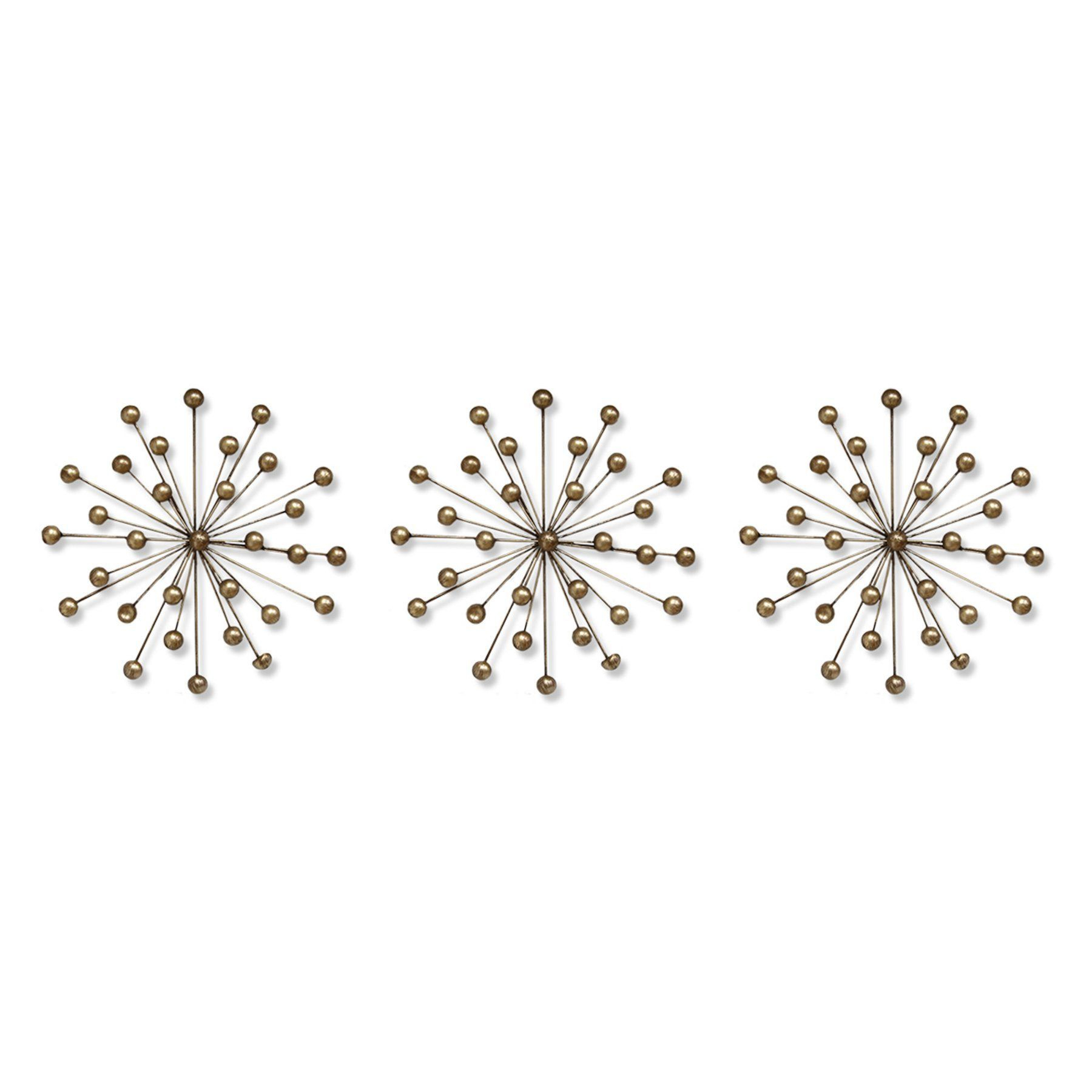 Stratton Home Gold Ball Burst Wall Sculpture – Set Of 3 Pertaining To 3 Piece Acrylic Burst Wall Decor Sets (set Of 3) (View 24 of 30)