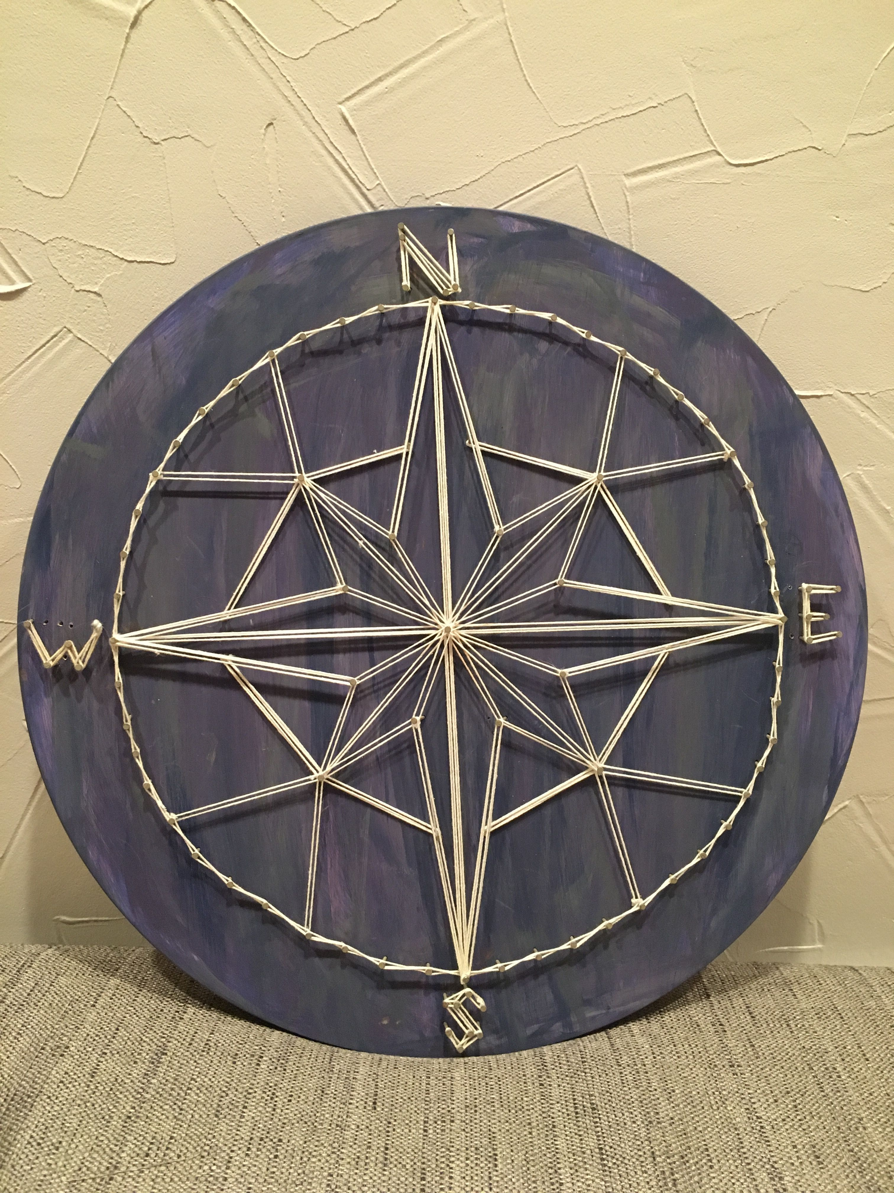 String Art Compass To Go With Diy Map Wall Art | Hartford With Round Compass Wall Decor (View 17 of 30)