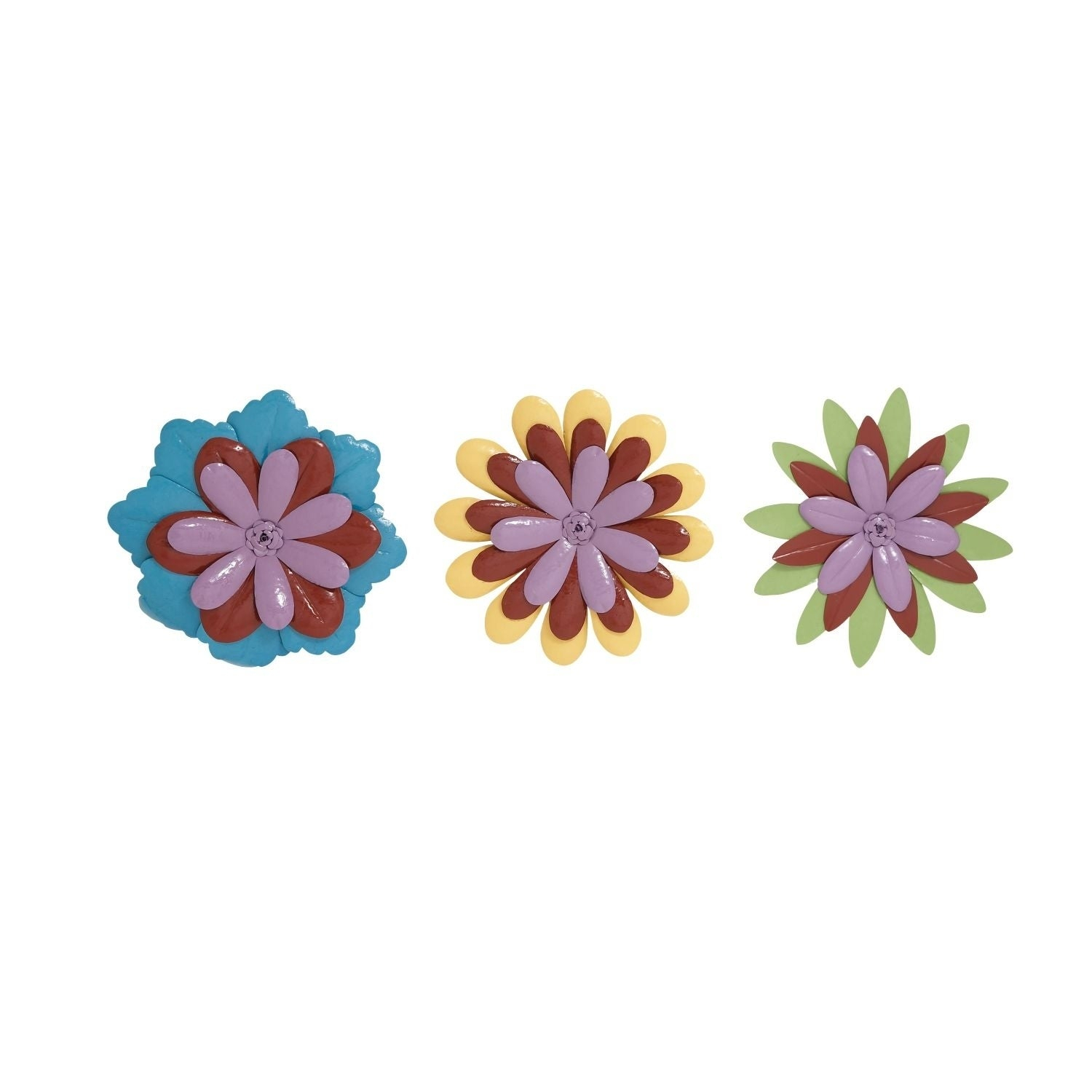 Studio 350 Metal Flower Wall Decor Set Of 3, 18 Inches D Regarding Metal Flower Wall Decor (Set Of 3) (View 15 of 30)