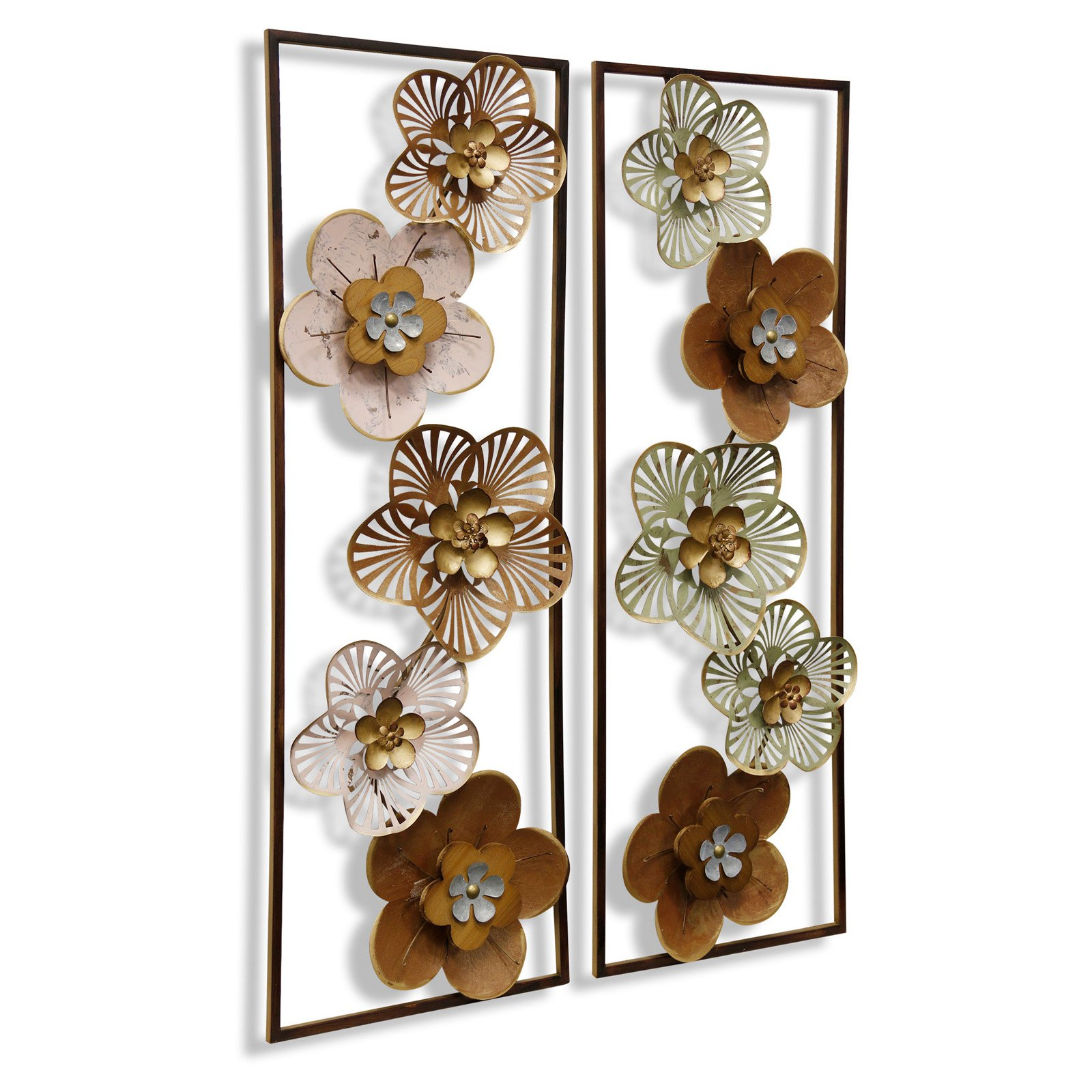 Stylecraft Floral Design Wall Sculptures – Set Of 2 With Regard To Panel Wood Wall Decor Sets (set Of 2) (View 8 of 30)