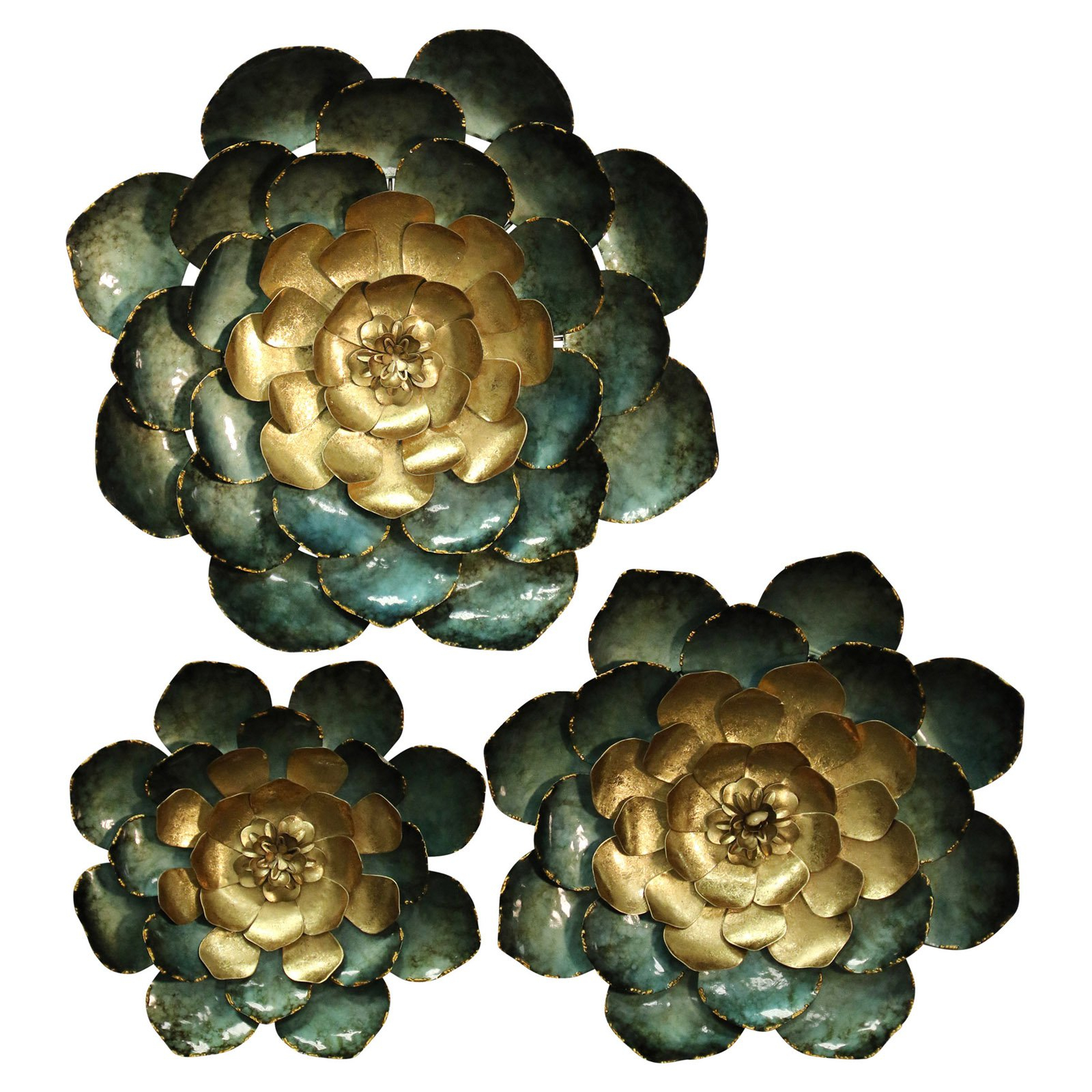 Stylecraft Metal Flower Wall Sculpture Set Of 3 | Products Pertaining To Metal Flower Wall Decor (Set Of 3) (View 9 of 30)