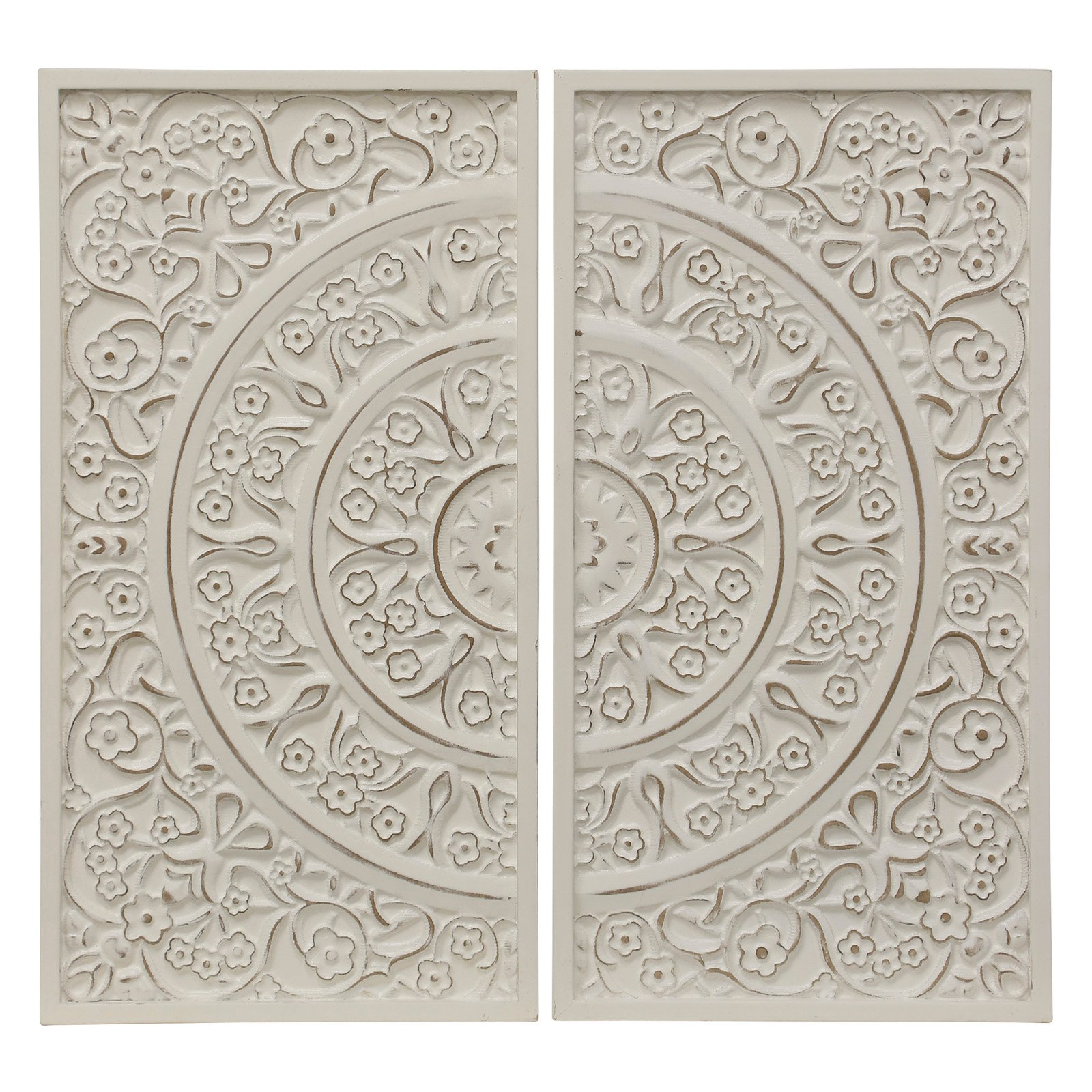 Stylecraft Patterned Wood Wall Accent – Set Of 2 | Products Pertaining To Panel Wood Wall Decor Sets (set Of 2) (View 3 of 30)