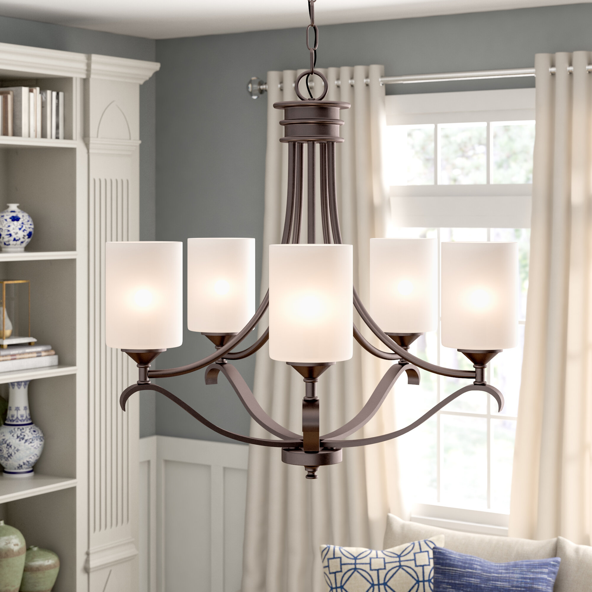 Suki 5 Light Shaded Chandelier For Crofoot 5 Light Shaded Chandeliers (View 12 of 30)
