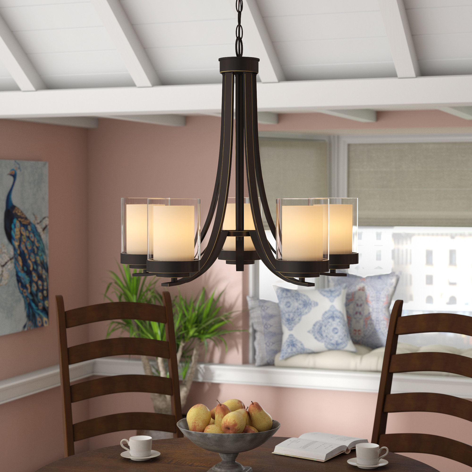 Suki 5 Light Shaded Chandelier | Wayfair Intended For Gaines 5 Light Shaded Chandeliers (View 12 of 30)