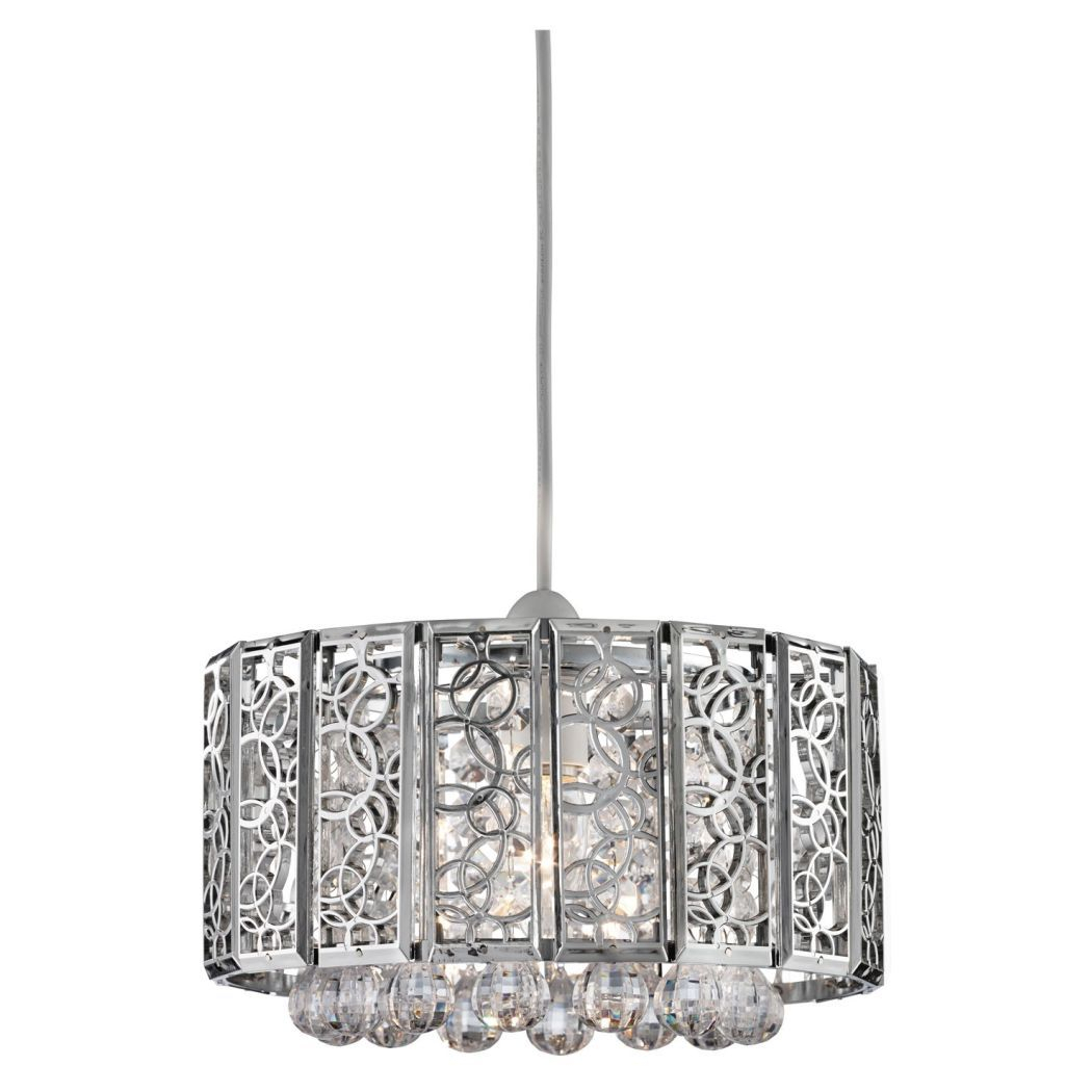 Suki Pendant Light Shade Chrome | Lights | Light Shades Regarding Suki 5 Light Shaded Chandeliers (View 26 of 30)