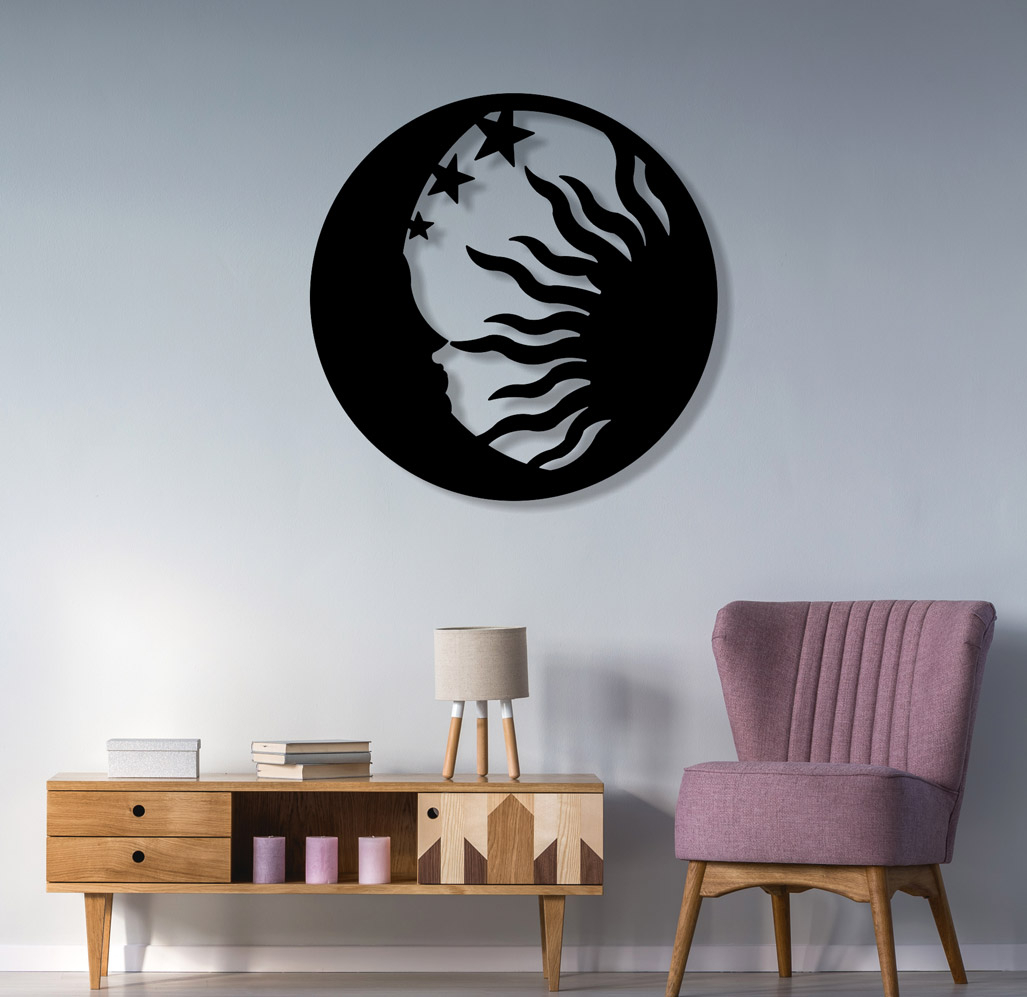 Sun Moon And Star Theme Metal Wall Art Sculpture Is Give Feel Of Nature Regarding Nature Metal Sun Wall Decor (View 9 of 30)