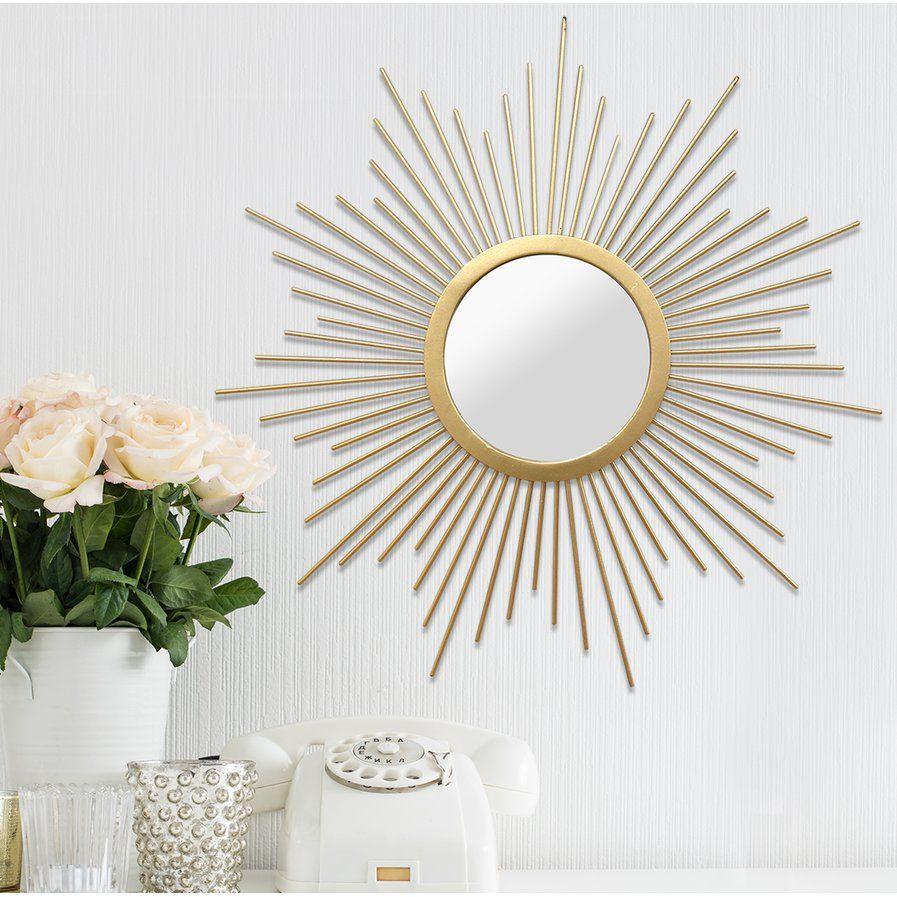 Sunburst Metal Wall Mirror | Locker Room | Home Decor Inside Starburst Wall Decor By Willa Arlo Interiors (View 9 of 30)