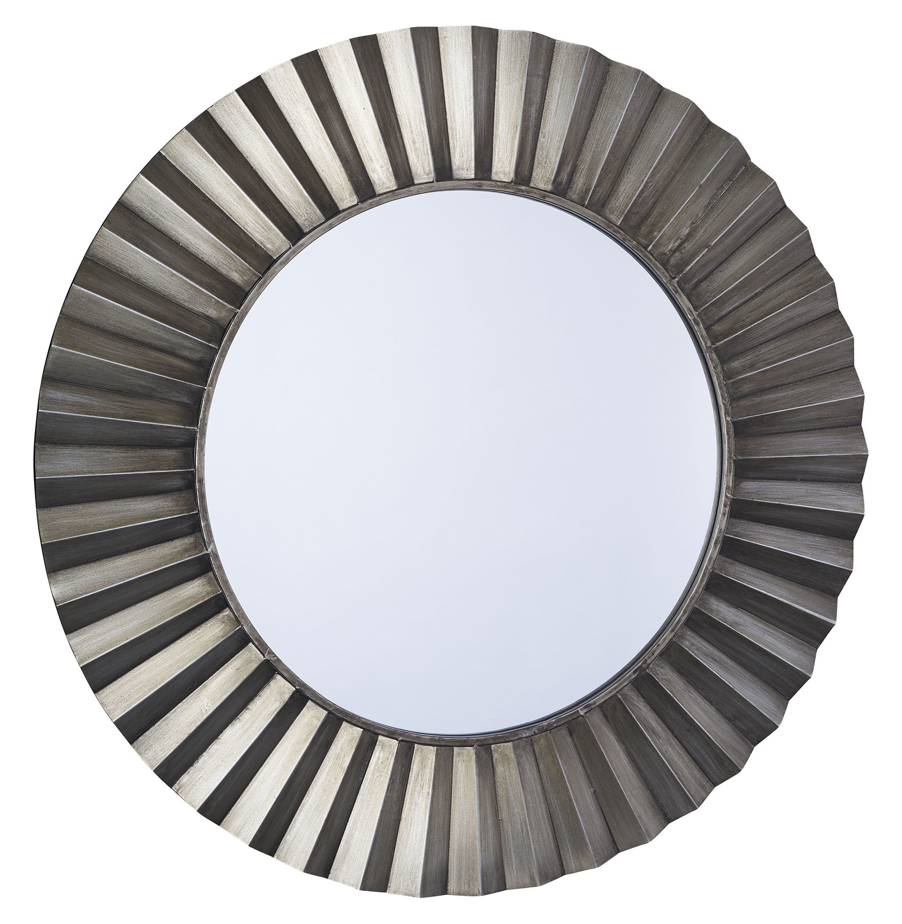 Sunburst Round Wall Mirror Regarding Lidya Frameless Beveled Wall Mirrors (View 17 of 30)