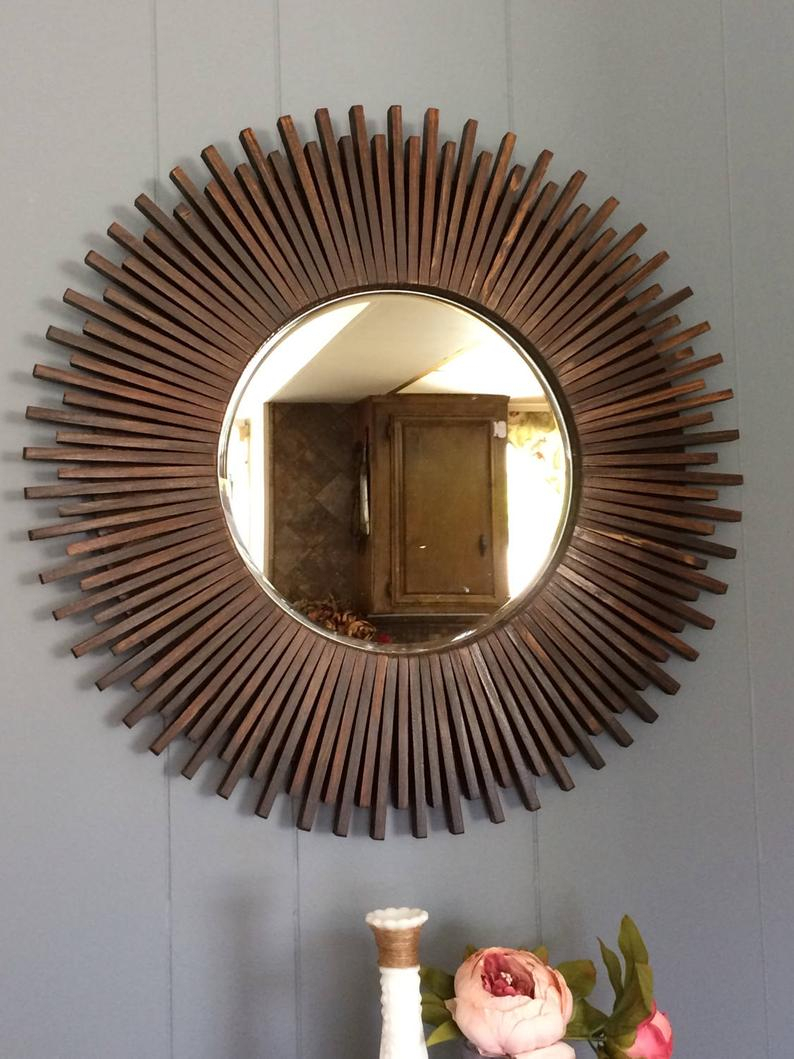 """Sunburst Round Wall Mirror Wood Dark Walnut Color 23"""" With Deniece Sunburst Round Wall Mirrors (View 25 of 30)"""
