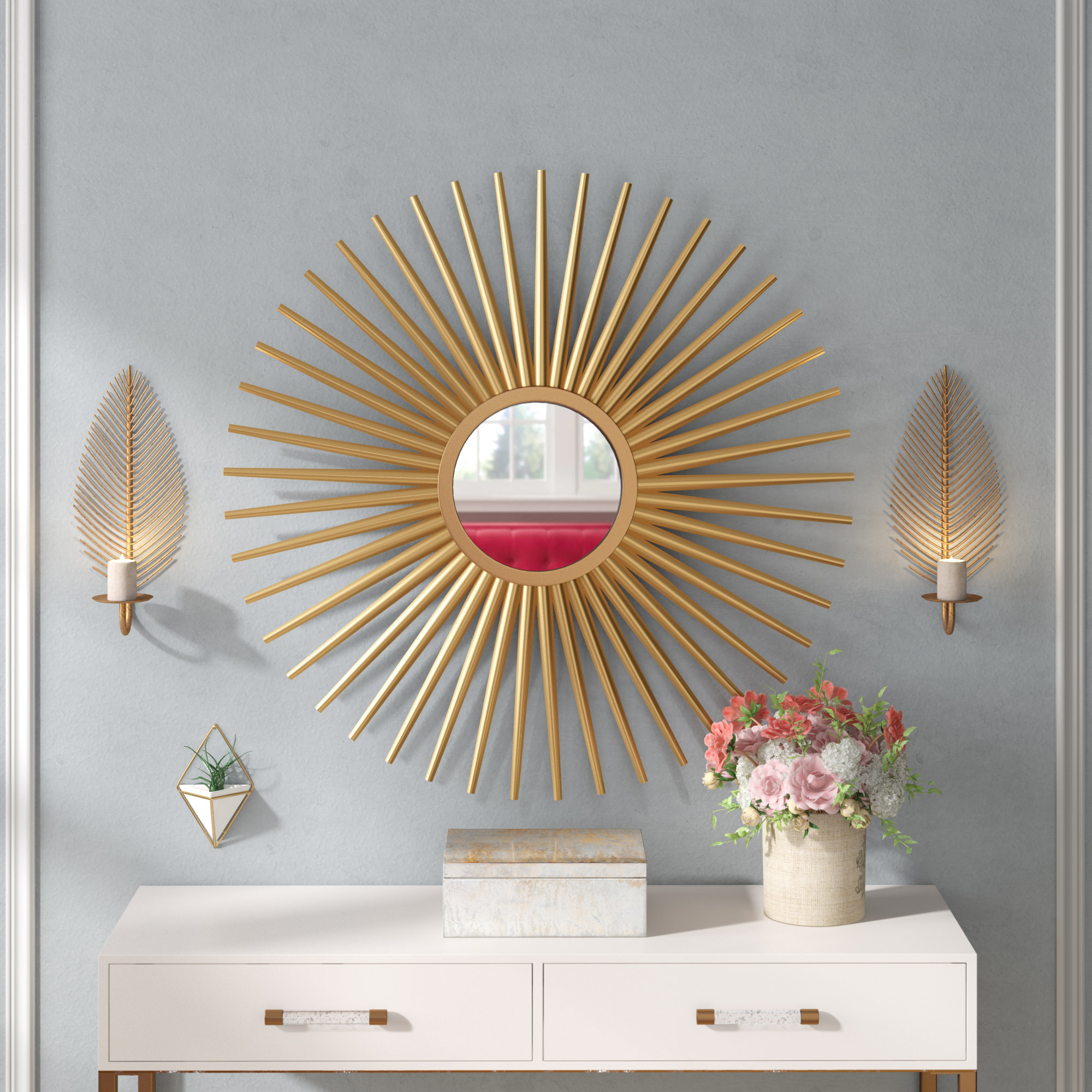 Sunburst Wall Mirror intended for Starburst Wall Decor By Willa Arlo Interiors (Image 19 of 30)