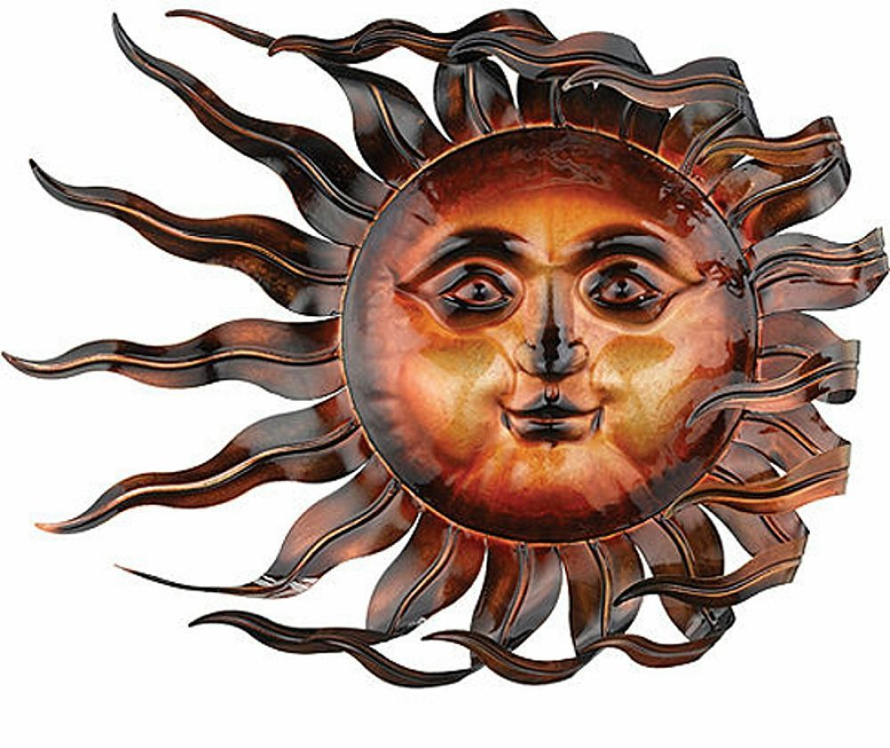 Sunswept Sun Face Wall Art Wind Blown Celestial Indoor Pertaining To Recycled Moon And Sun Wall Decor (View 2 of 30)