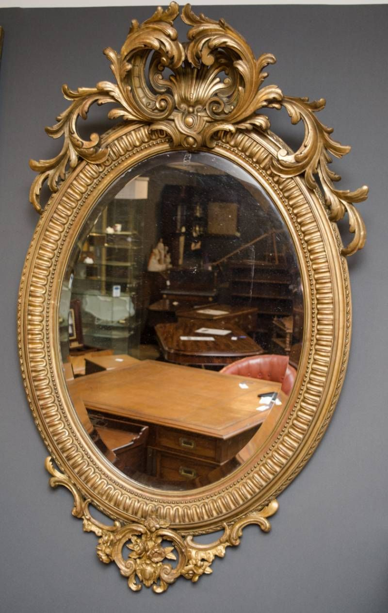 Superb 19Th Century Gilt Wood Oval Wall Mirror In Oval Wood Wall Mirrors (View 25 of 30)