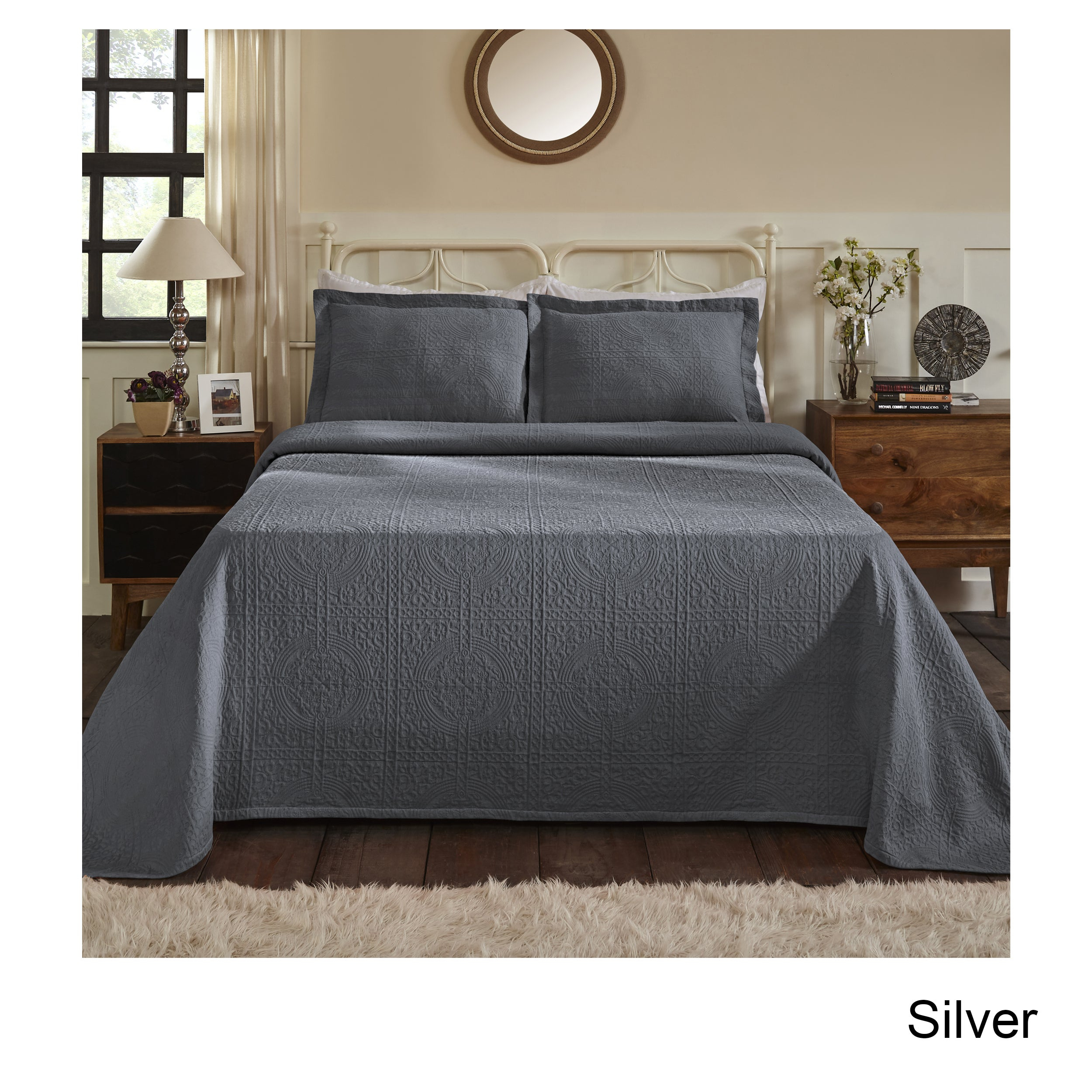 Superior Jacquard Matelasse Fleur De Lis Bedspread Set In 2 Piece Metal Wall Decor Sets By Fleur De Lis Living (View 13 of 30)