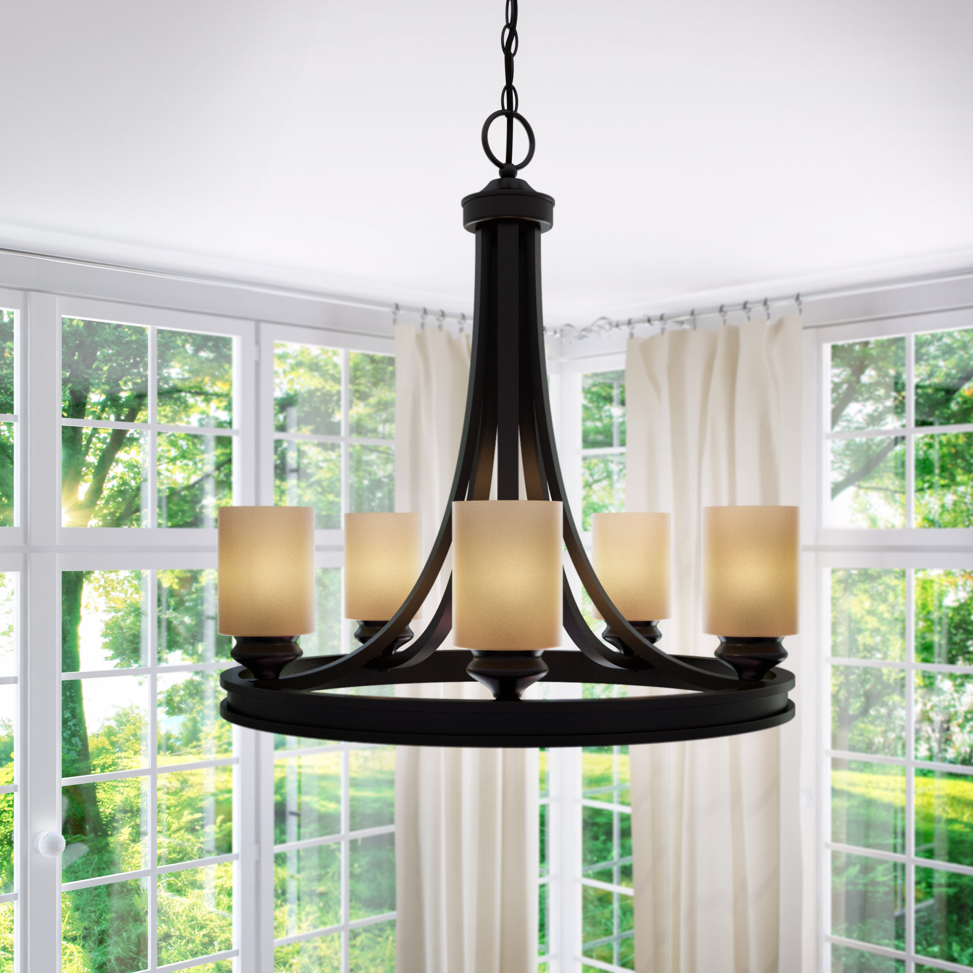 Swinford 5-Light Wagon Wheel Chandelier pertaining to Crofoot 5-Light Shaded Chandeliers (Image 25 of 30)