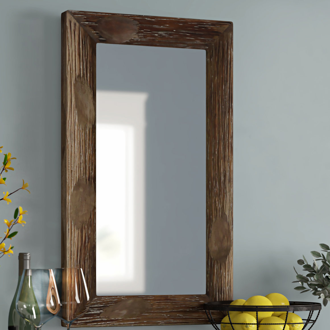 Tahara Rustic Wall Mirror Within Peetz Modern Rustic Accent Mirrors (Image 27 of 30)