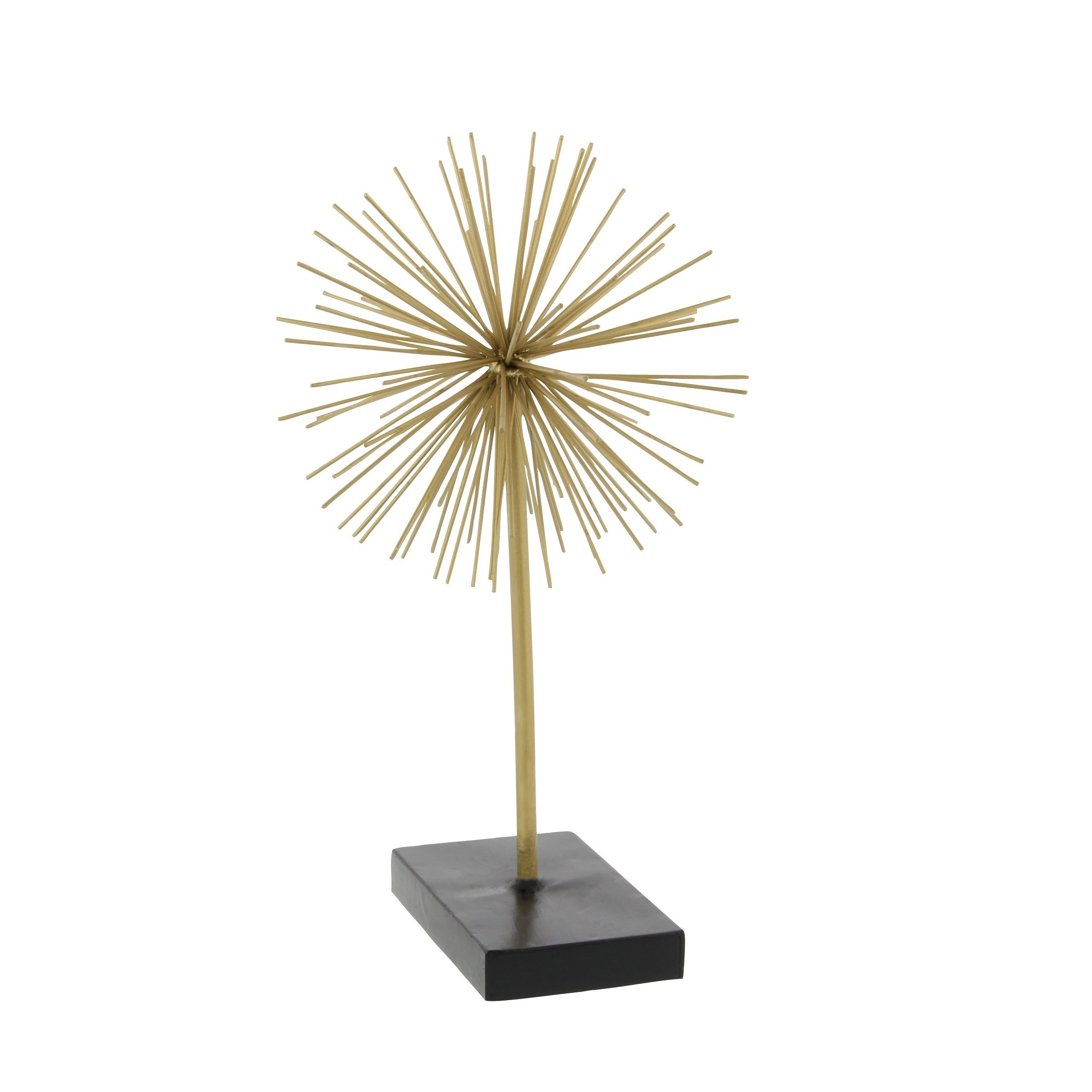 "Tall Contemporary Style 3D Round Gold Metal Starburst Sculptures On Black  Stands Set Of 3 - 11"", 15"", 20"" for Set Of 3 Contemporary 6, 9, And 11 Inch Gold Tin Starburst Sculptures (Image 25 of 30)"