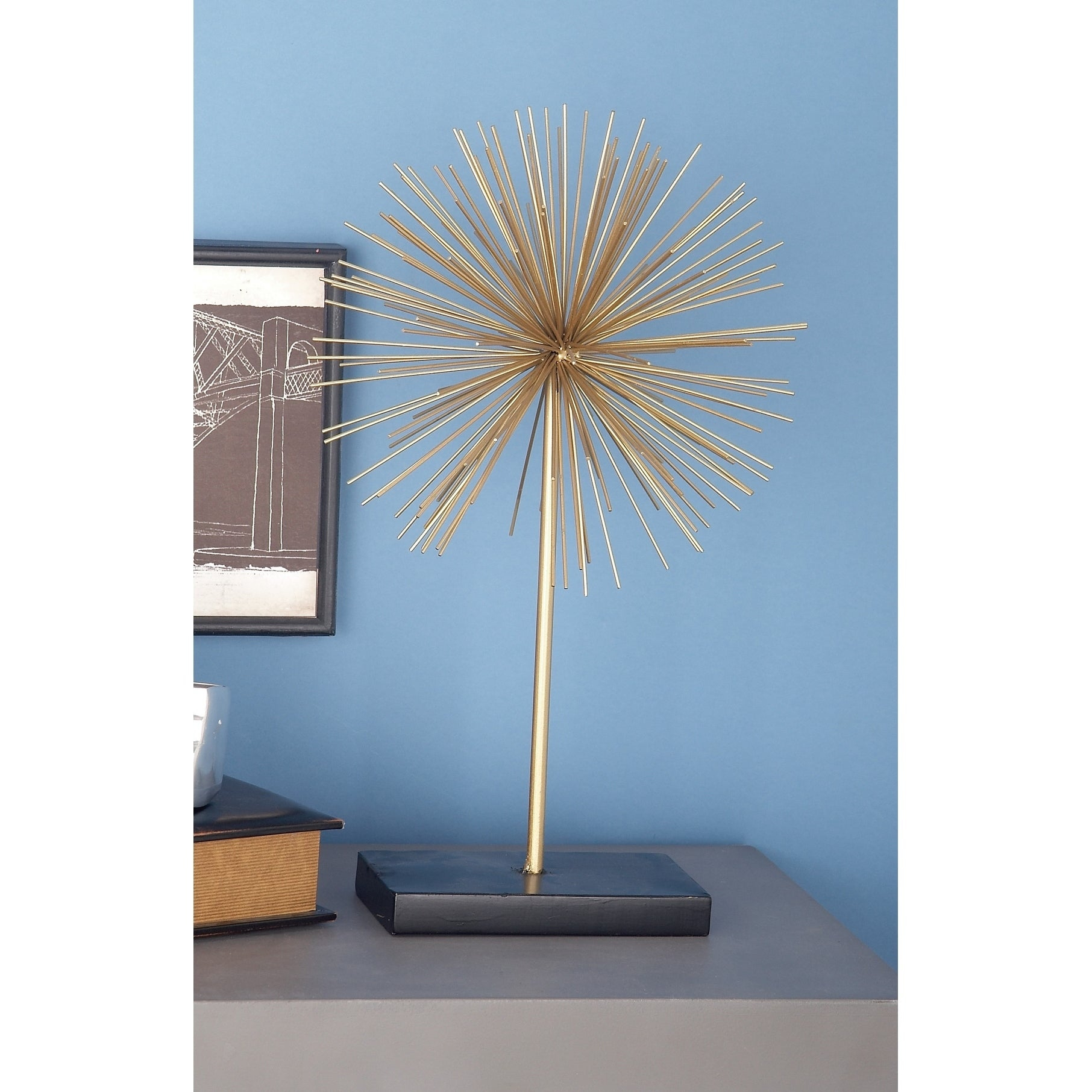 "Tall Contemporary Style 3d Round Gold Metal Starburst Sculptures On Black Stands Set Of 3 – 11"", 15"", 20"" Within Set Of 3 Contemporary 6, 9, And 11 Inch Gold Tin Starburst Sculptures (View 6 of 30)"