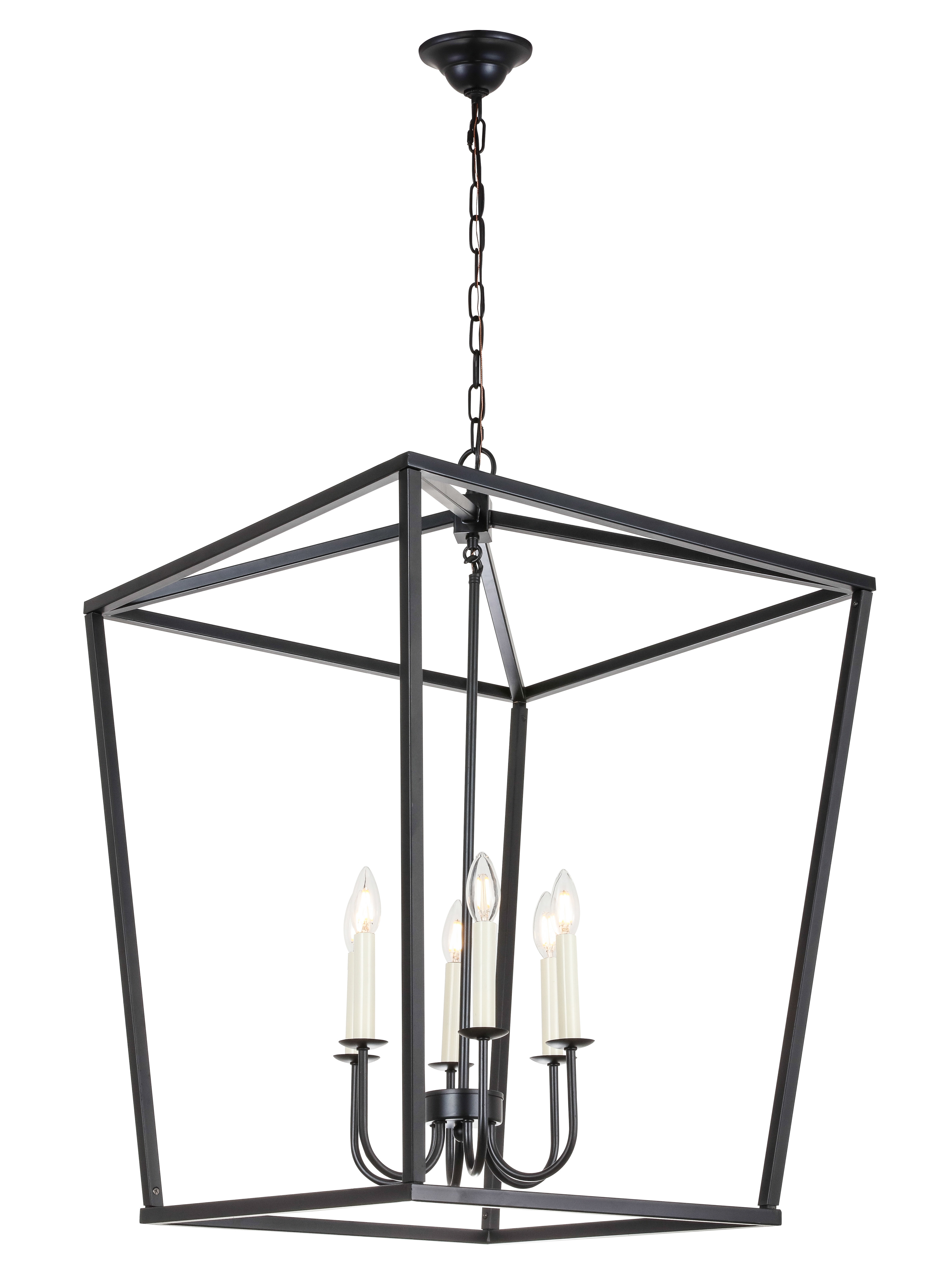 Tanguay 6-Light Lantern Pendant pertaining to Carmen 8-Light Lantern Geometric Pendants (Image 28 of 30)