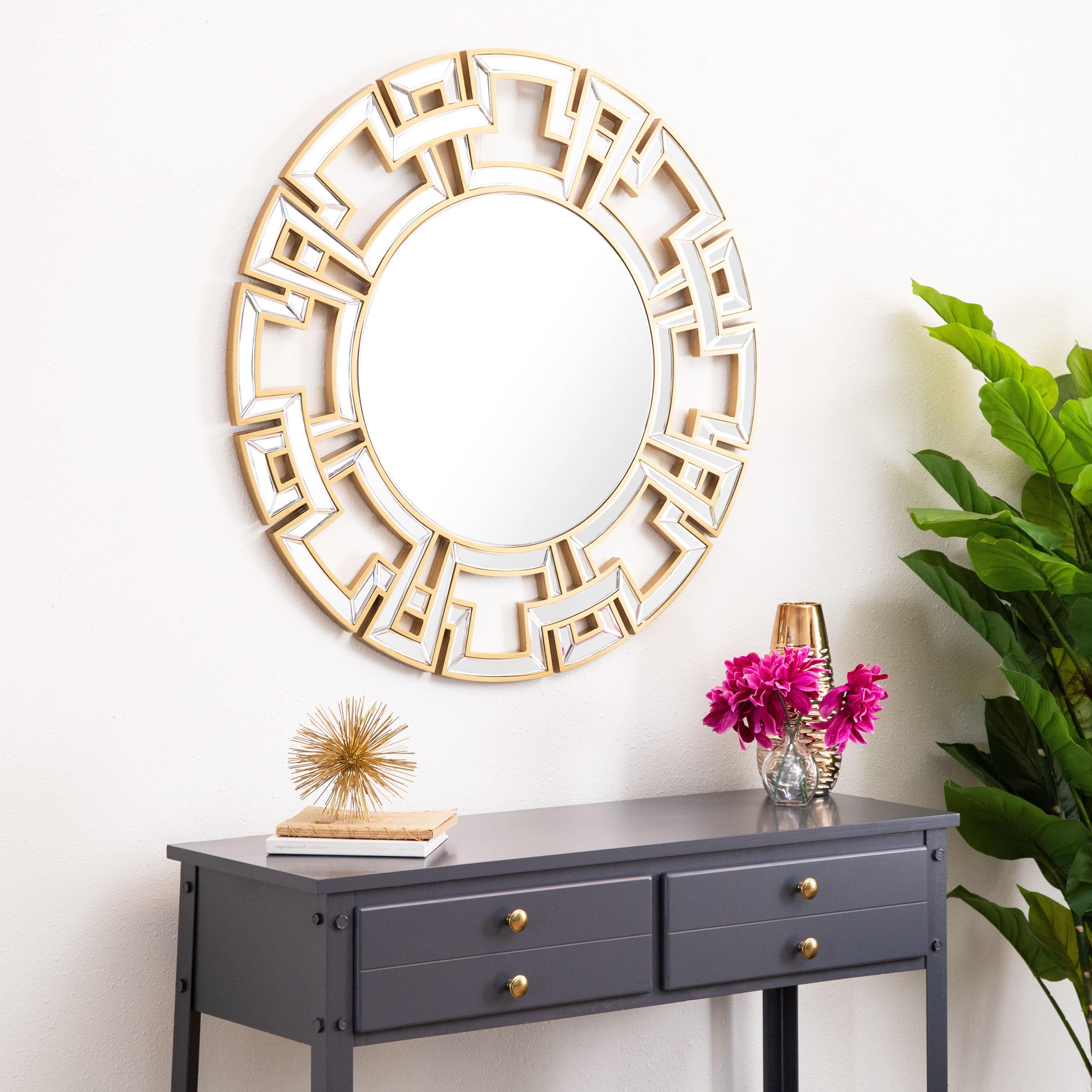 Tata Openwork Round Wall Mirror Regarding Caja Rectangle Glass Frame Wall Mirrors (View 26 of 30)