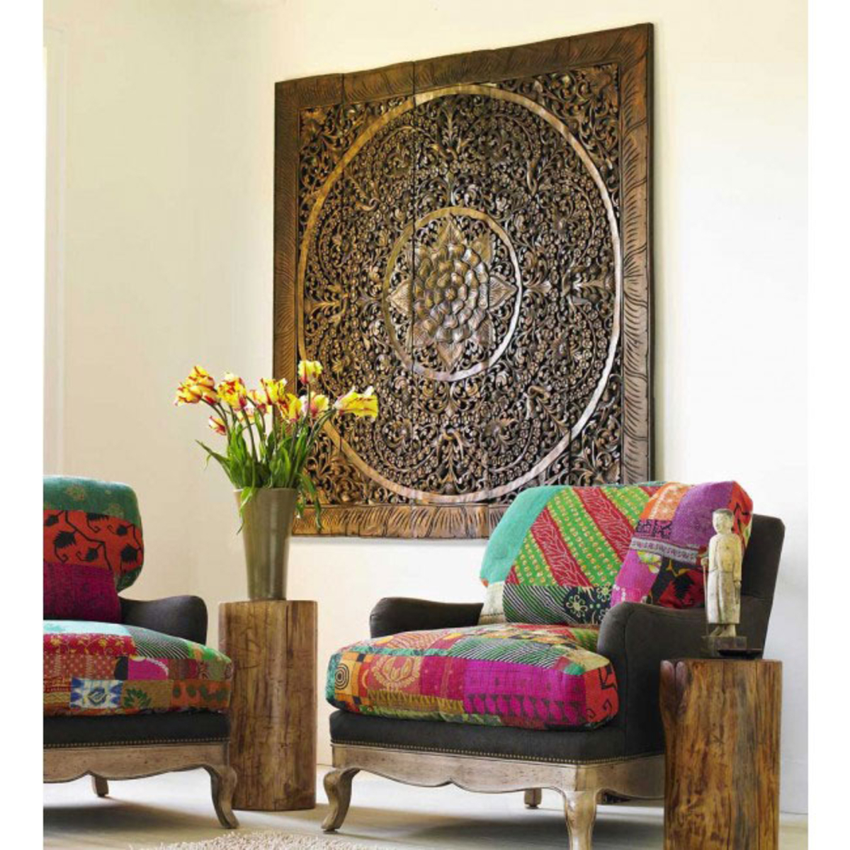 Teak Lotus Handcarved Wall Panels With Regard To Panel Wood Wall Decor Sets (set Of 2) (View 6 of 30)