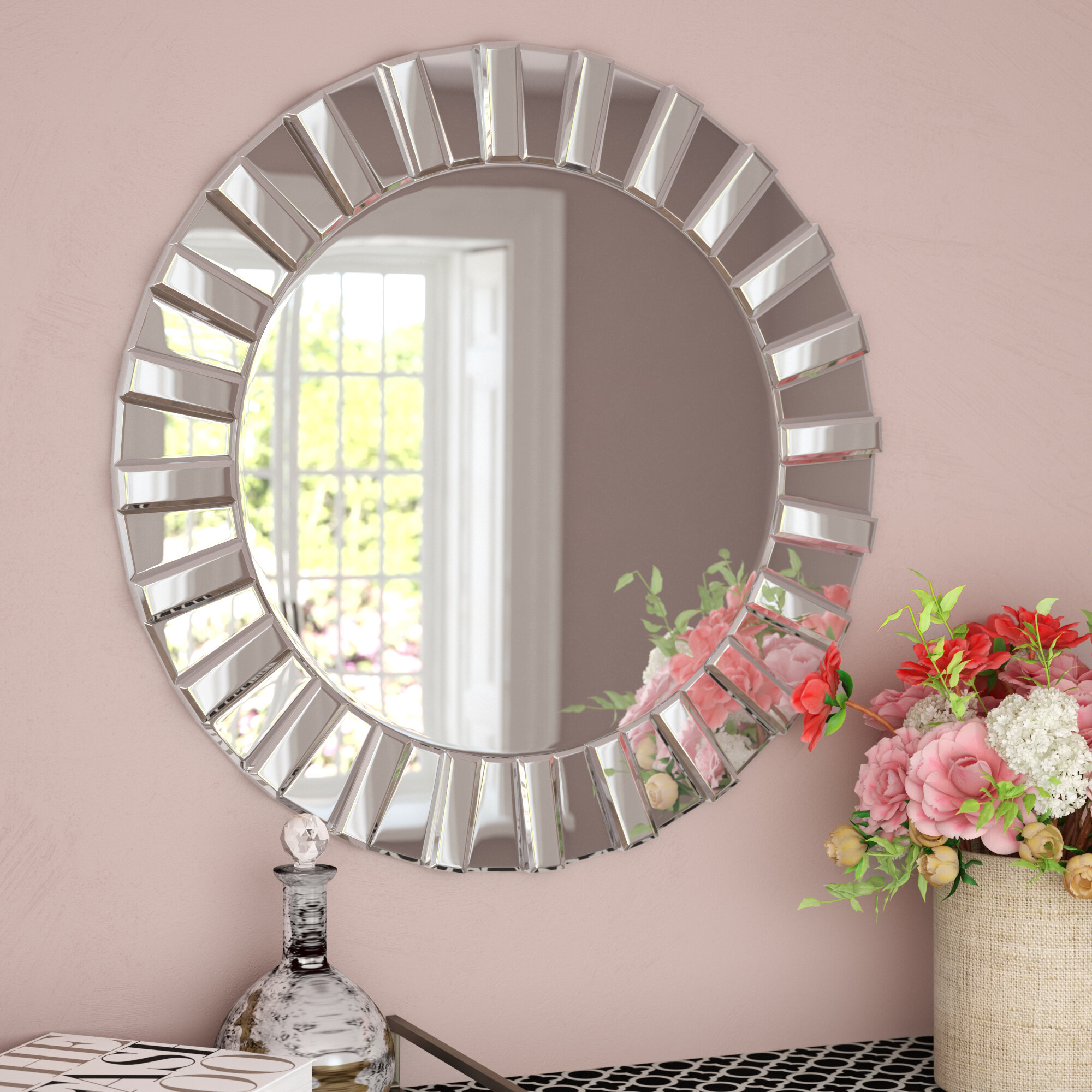 Teshia Modern & Contemporary Wall Mirror In Lidya Frameless Beveled Wall Mirrors (View 4 of 30)