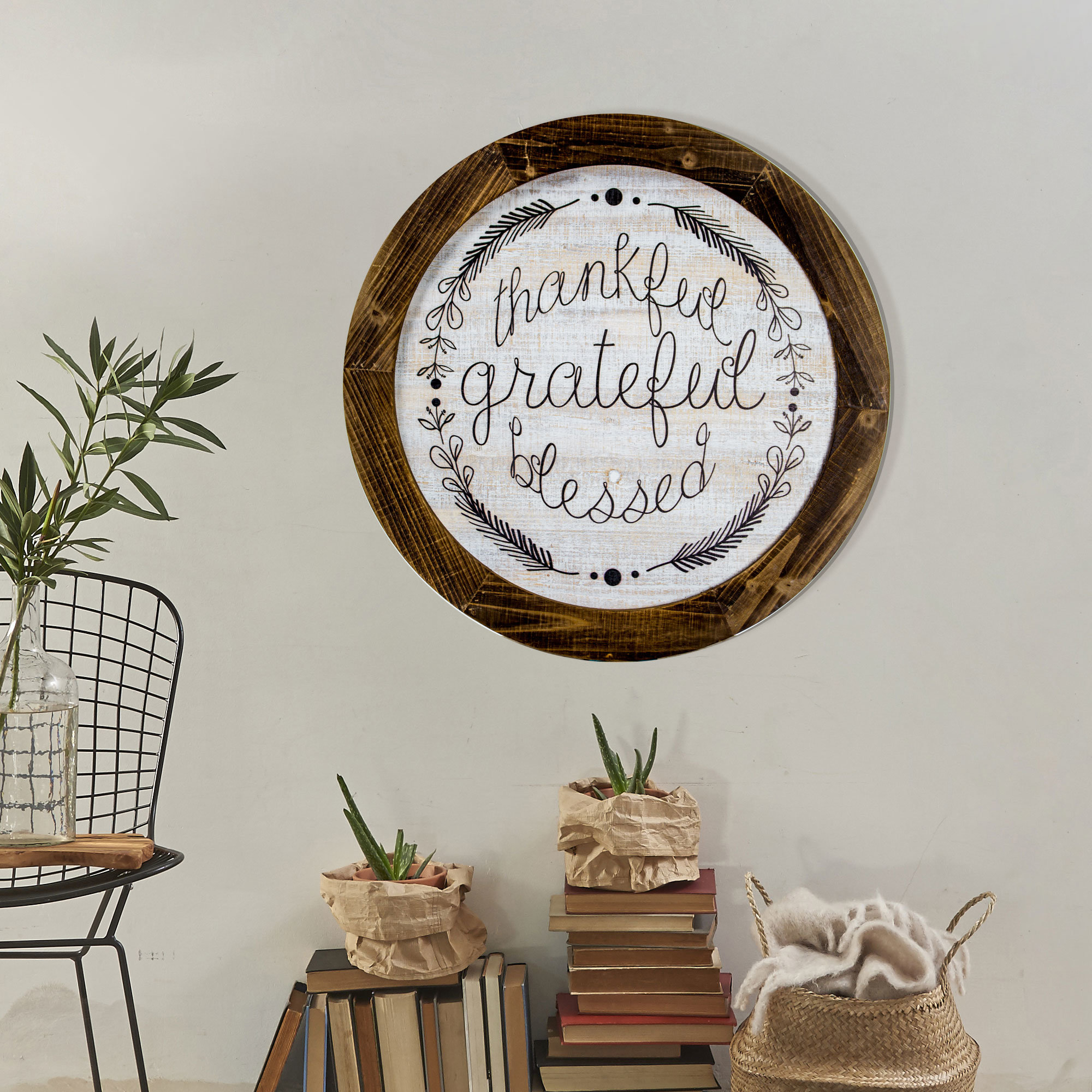 'thankful Grateful Blessed' Inspirational Print On Wood Farmhouse Wall Decor With Fawcett Thankful Heart Wall Decor (View 4 of 30)