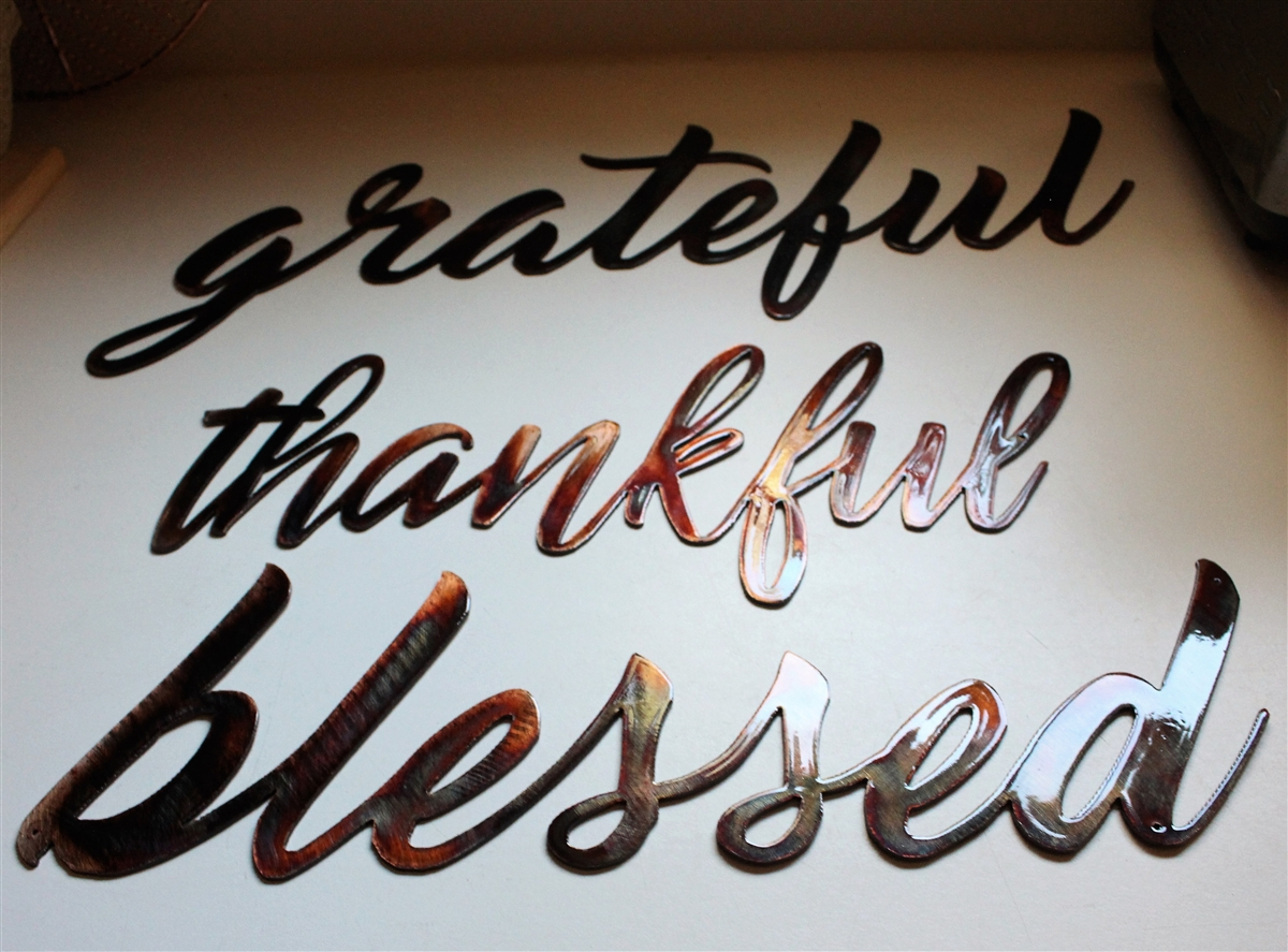 Thankful, Grateful & Blessed Metal Wall Art Words Copper/bronze Plated Within Blessed Steel Wall Decor (View 21 of 30)