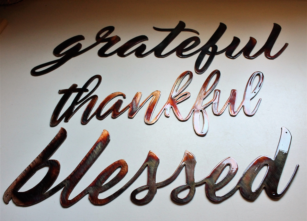 Thankful, Grateful & Blessed Metal Wall Art Words Copper/bronze Plated Within Blessed Steel Wall Decor (View 4 of 30)