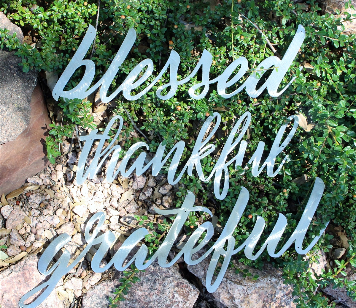 Thankful, Grateful & Blessed Metal Wall Art Words Polished Steel Intended For Blessed Steel Wall Decor (View 11 of 30)