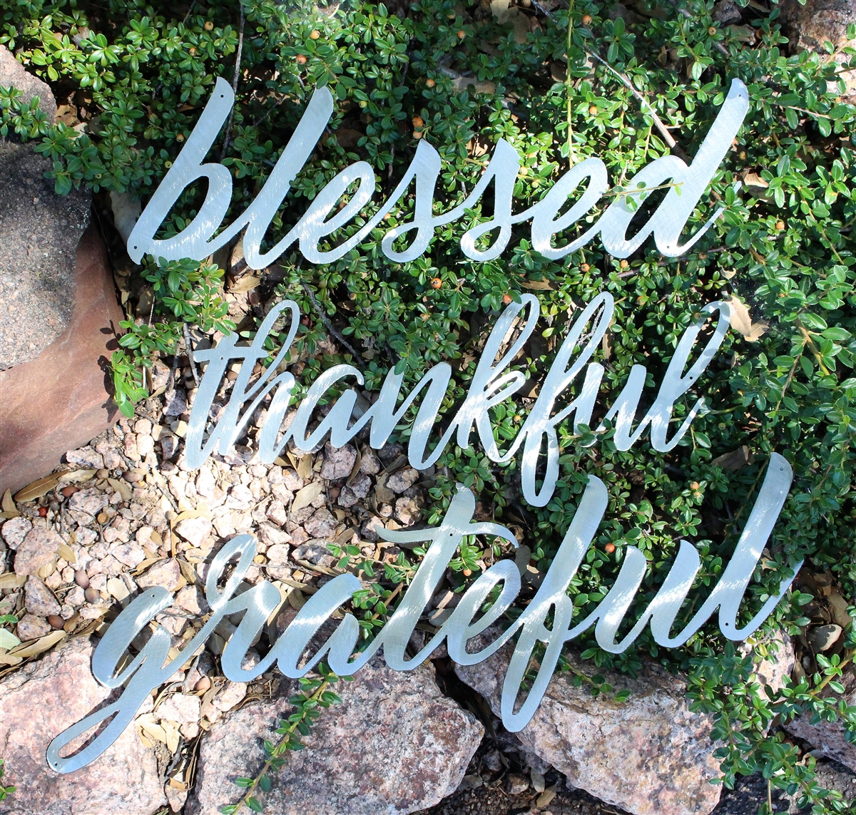 Thankful, Grateful & Blessed Metal Wall Art Words Polished Steel Regarding Blessed Steel Wall Decor (View 12 of 30)
