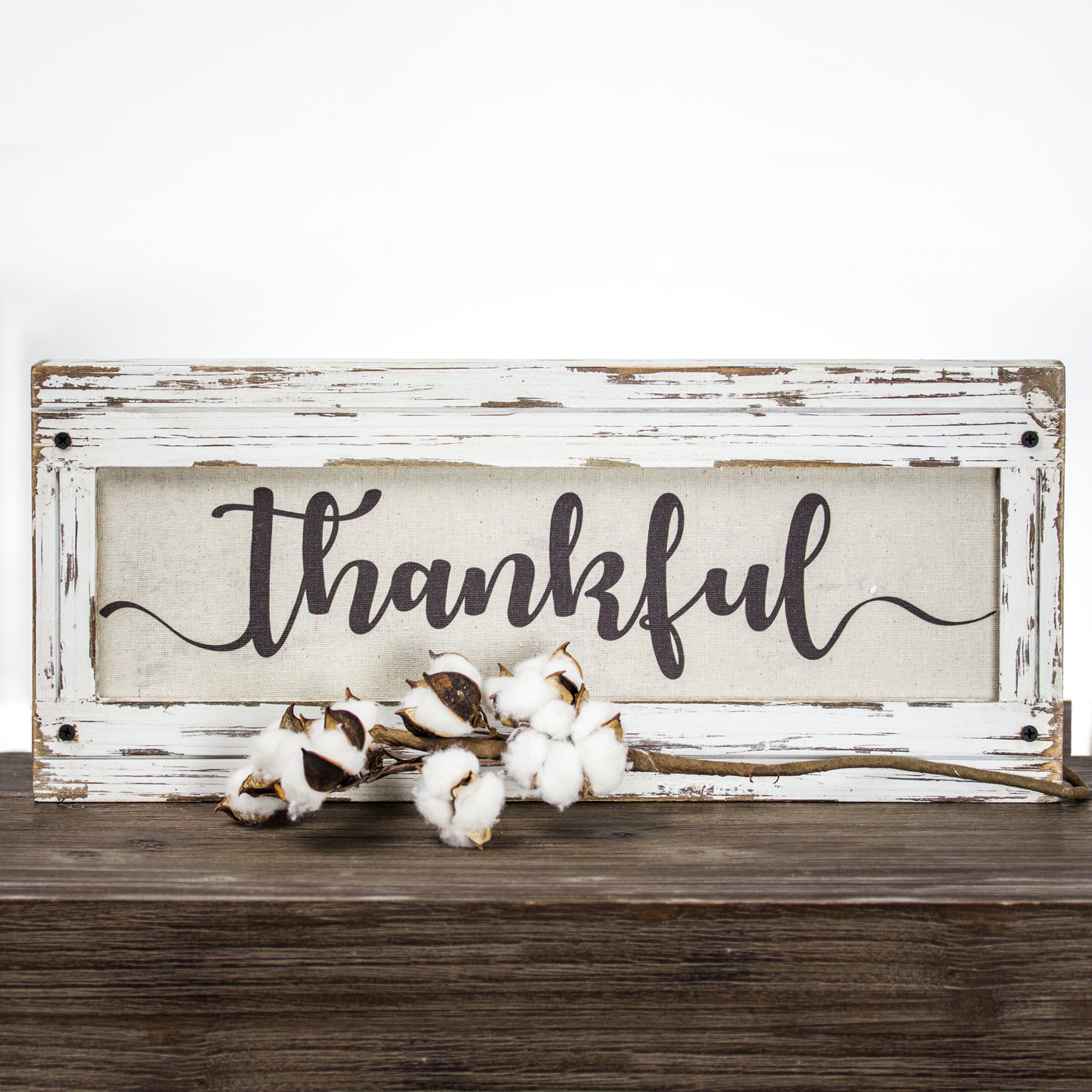 'thankful' Wood Framed Inspirational Canvas Sign Farmhouse Wall Décor In Fawcett Thankful Heart Wall Decor (View 8 of 30)