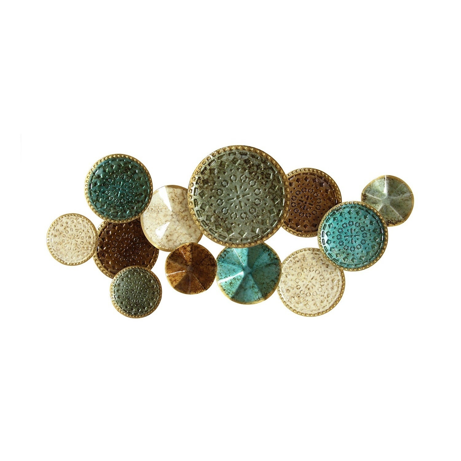 The Curated Nomad Mel Home Multicolor Metal Plates Wall Decor throughout Scattered Metal Italian Plates Wall Decor (Image 21 of 30)