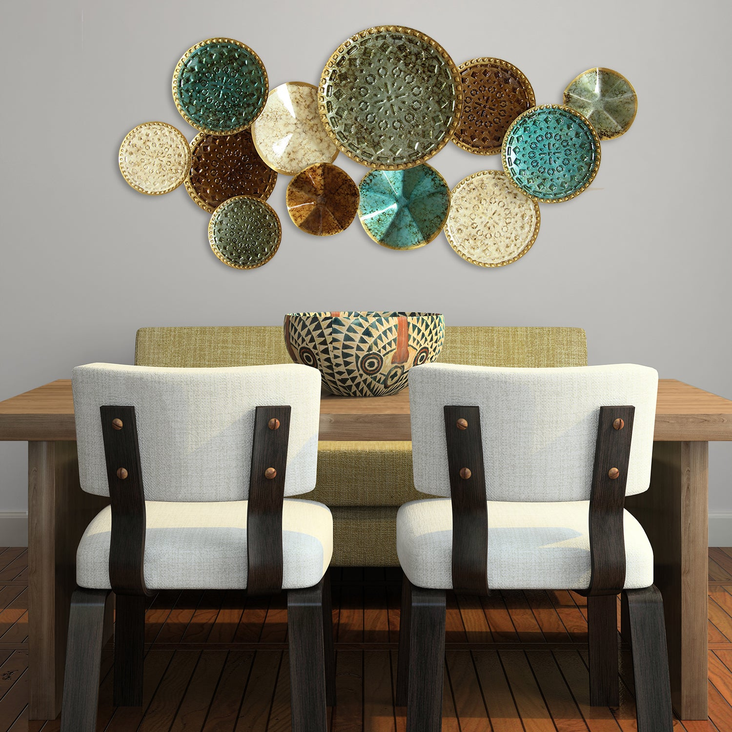 The Curated Nomad Mel Home Multicolor Metal Plates Wall Decor within Scattered Metal Italian Plates Wall Decor (Image 22 of 30)