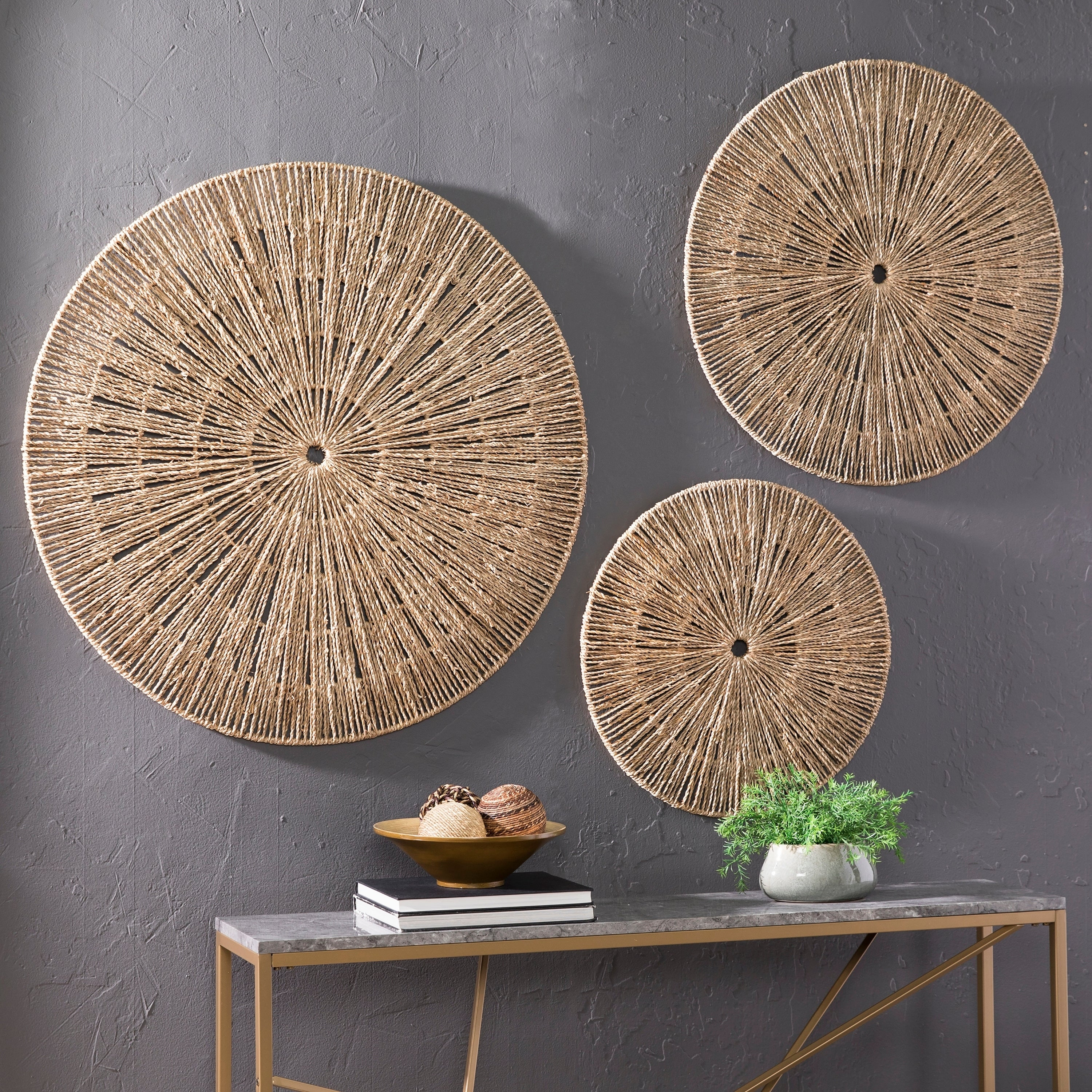 The Curated Nomad Terraza Woven Seagrass Wall Decor (Set Of 3) regarding Scattered Metal Italian Plates Wall Decor (Image 23 of 30)