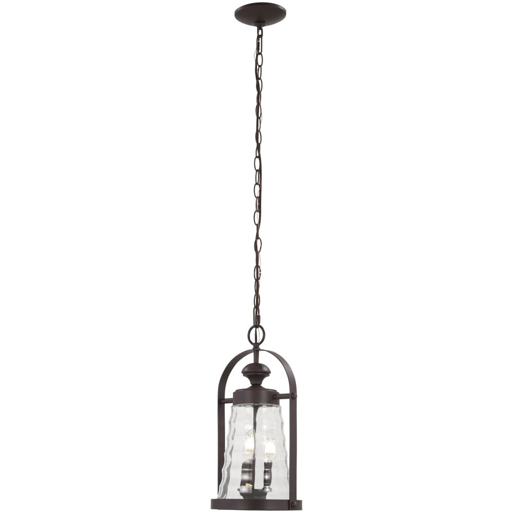 """The Great Outdoors 72624 615B Sycamore Trail 3 Light 9 1/4"""" Wide Outdoor Single Mini Pendant With Cylinder / Tapered Glass Throughout 3 Light Lantern Cylinder Pendants (View 29 of 30)"""