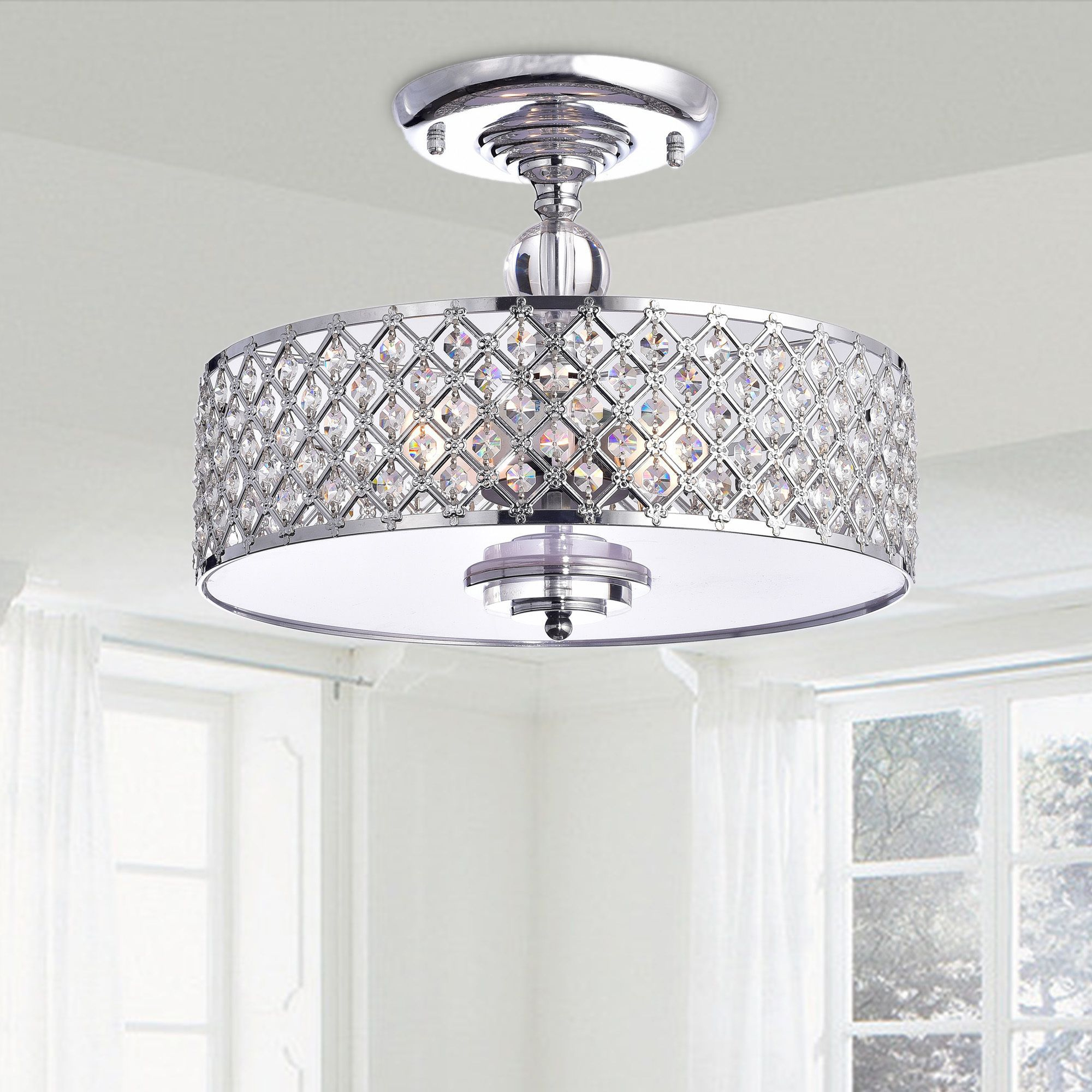 The Martina Chrome Finish Crystal 3 Light Flush Mount Pertaining To Clea 3 Light Crystal Chandeliers (View 4 of 30)