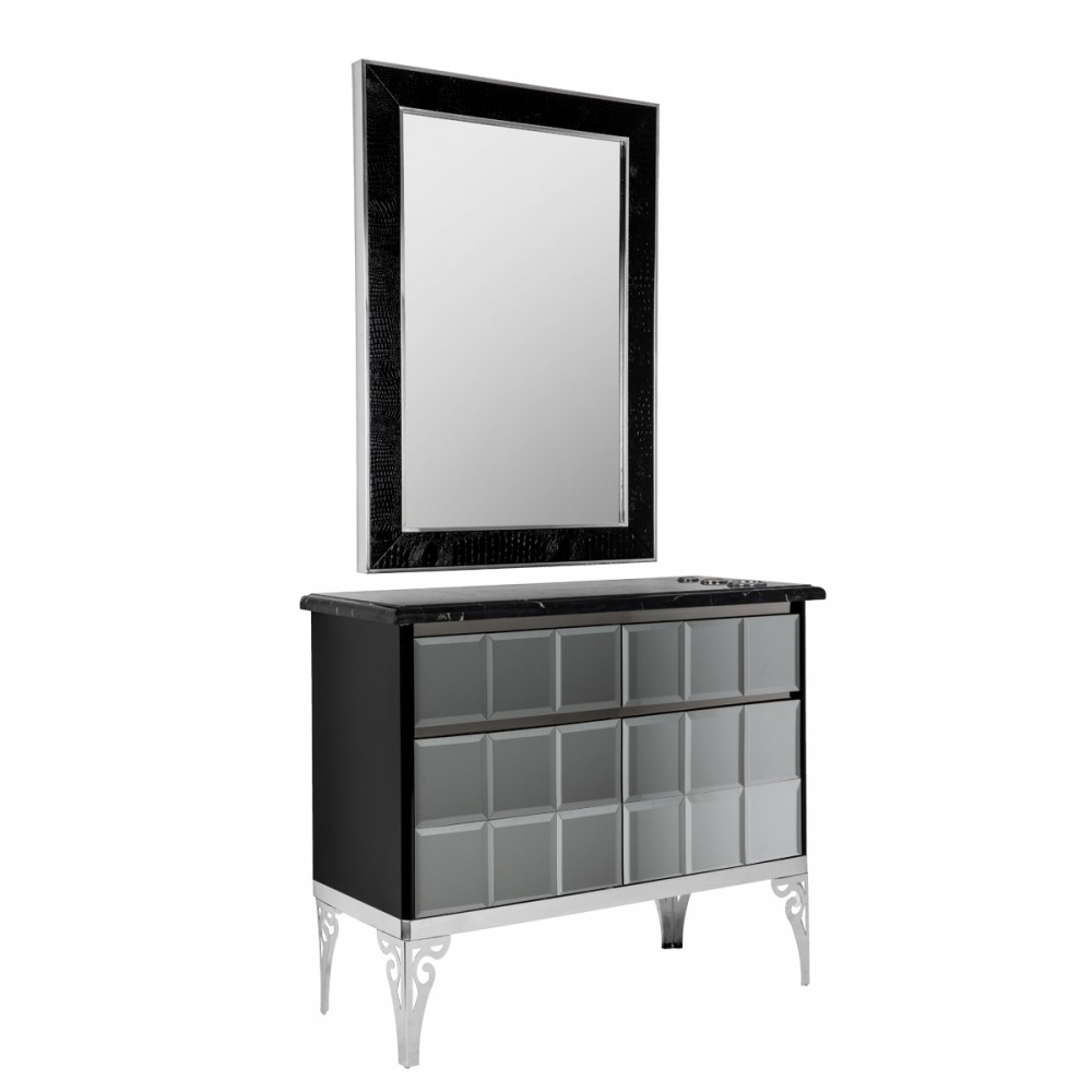 The Mythos Styling Station In Black pertaining to Minerva Accent Mirrors (Image 27 of 30)