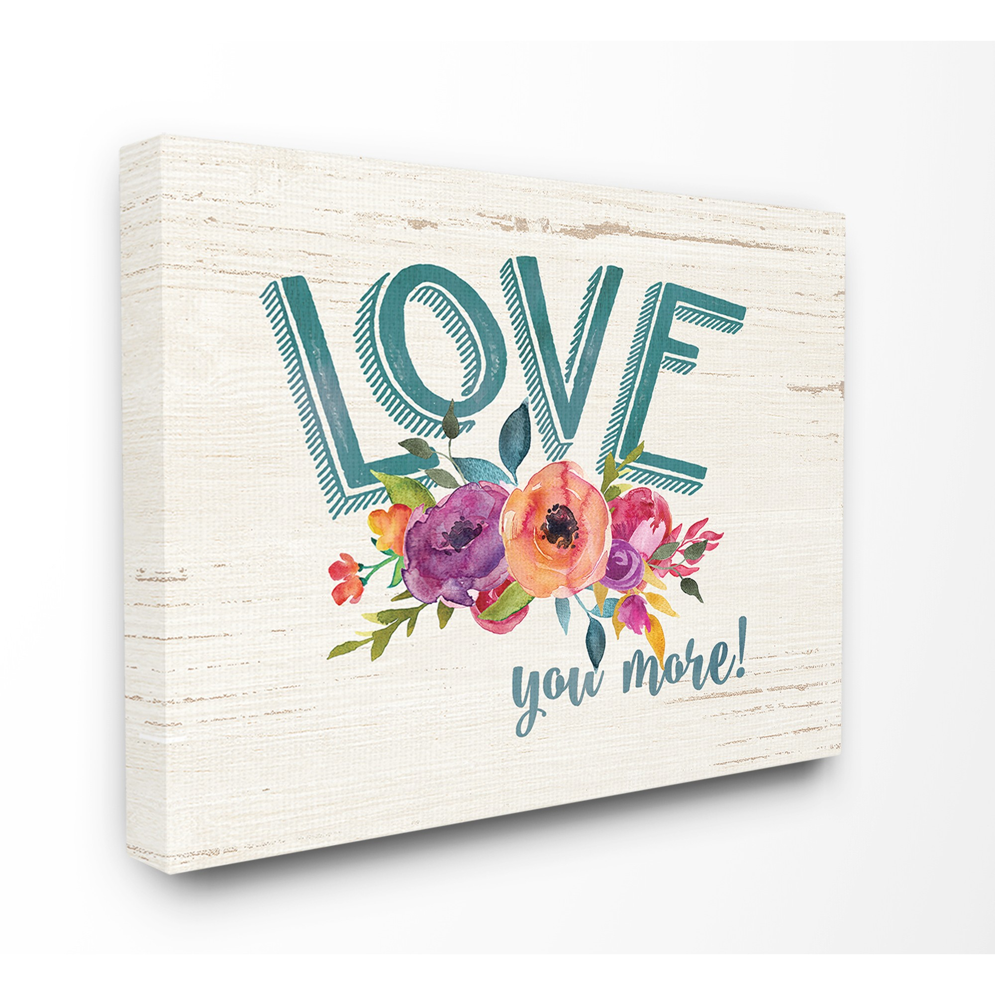 The Stupell Home Decor Collection Love You More Flowers White Wood  Stretched Canvas Wall Art, 30 X 1.5 X 40 in 'love You More' Wood Wall Decor (Image 30 of 30)