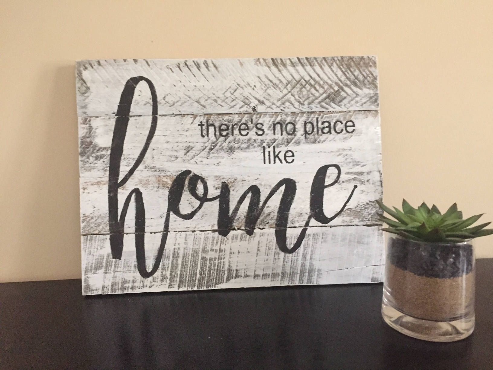 There's No Place Like Home Sign, Home Decor, Pallet Wall Art Throughout Faith, Hope, Love Raised Sign Wall Decor (View 6 of 30)