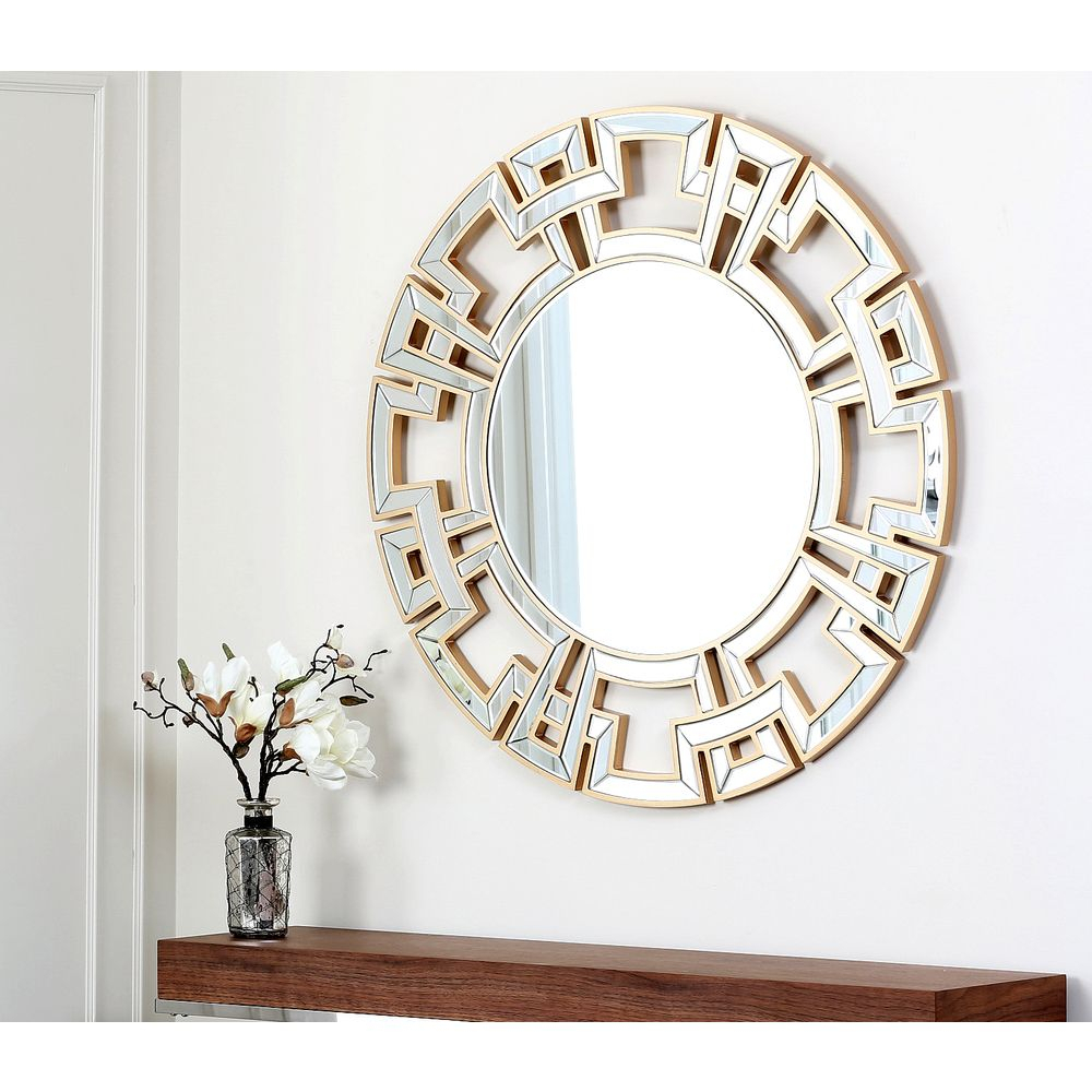 This Contemporary Gold And Glass Mirror'abbyson Living Inside Tata Openwork Round Wall Mirrors (View 12 of 30)