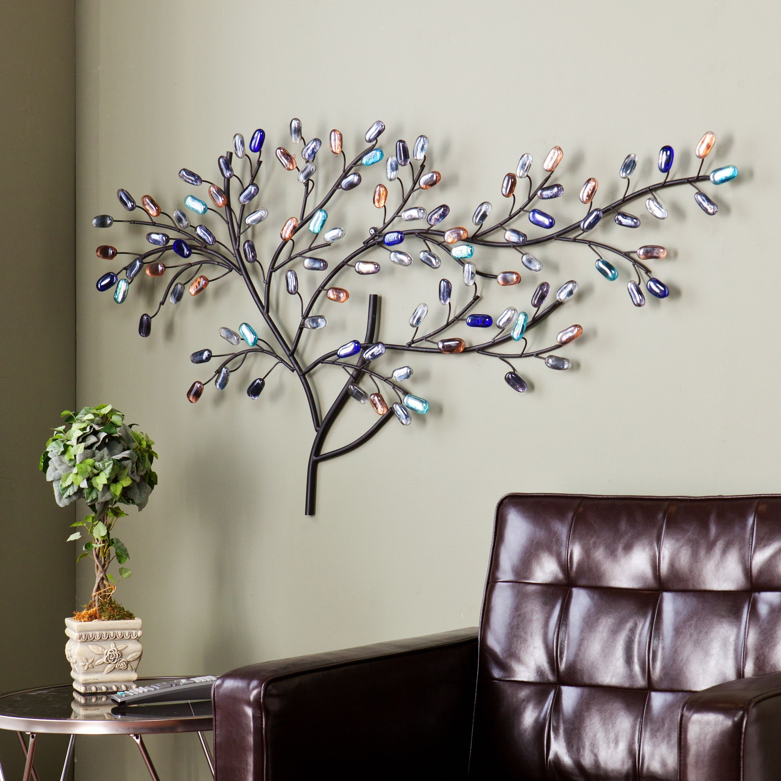 This Upton Home Willow Multicolor Metal/ Glass Tree Wall Intended For Metal Leaf Wall Decor By Red Barrel Studio (View 29 of 30)
