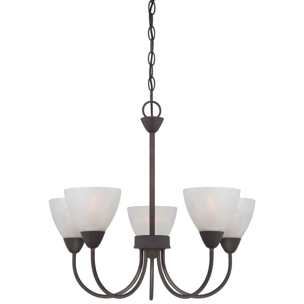 Thomas Lighting Tia 5 Light Matte Nickel Chandelier In Crofoot 5 Light Shaded Chandeliers (View 27 of 30)