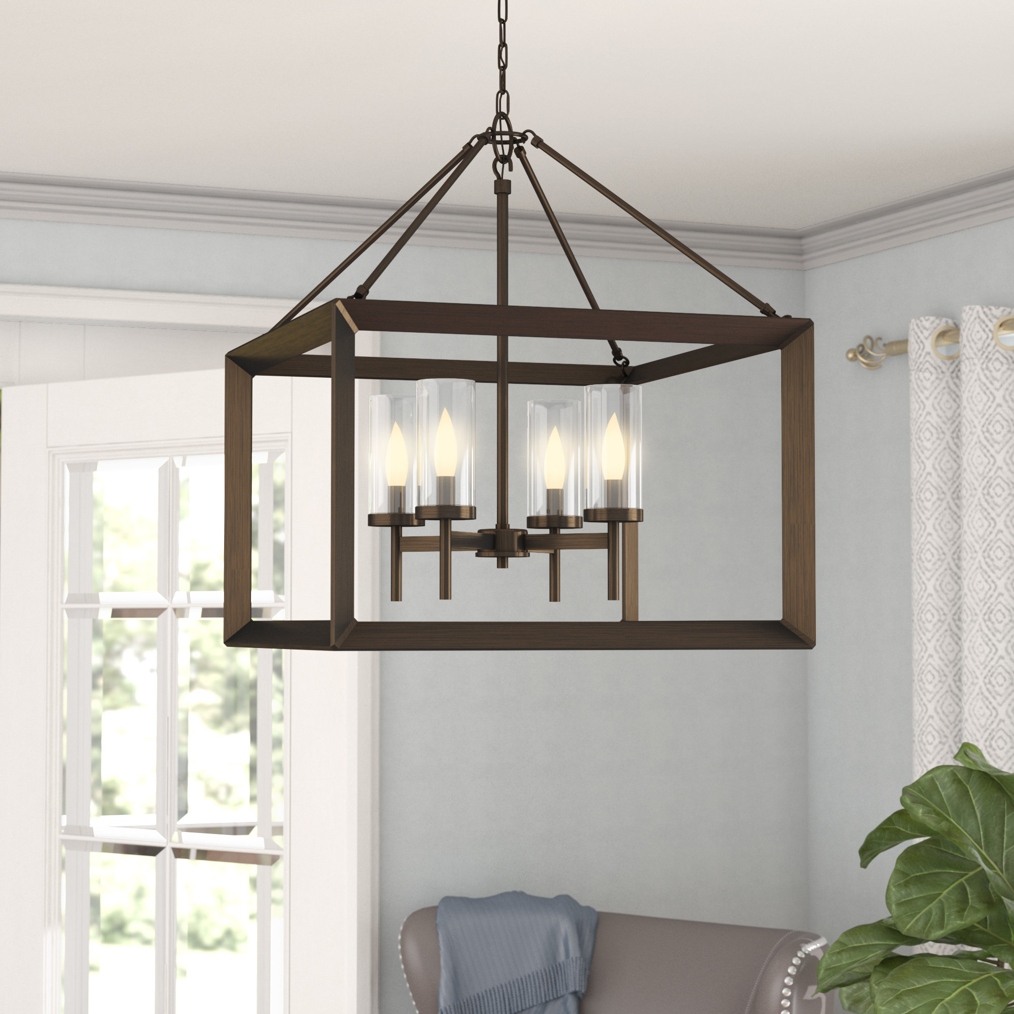 Thorne 4-Light Lantern Rectangle Pendant in Sherri-Ann 3-Light Lantern Square / Rectangle Pendants (Image 26 of 30)