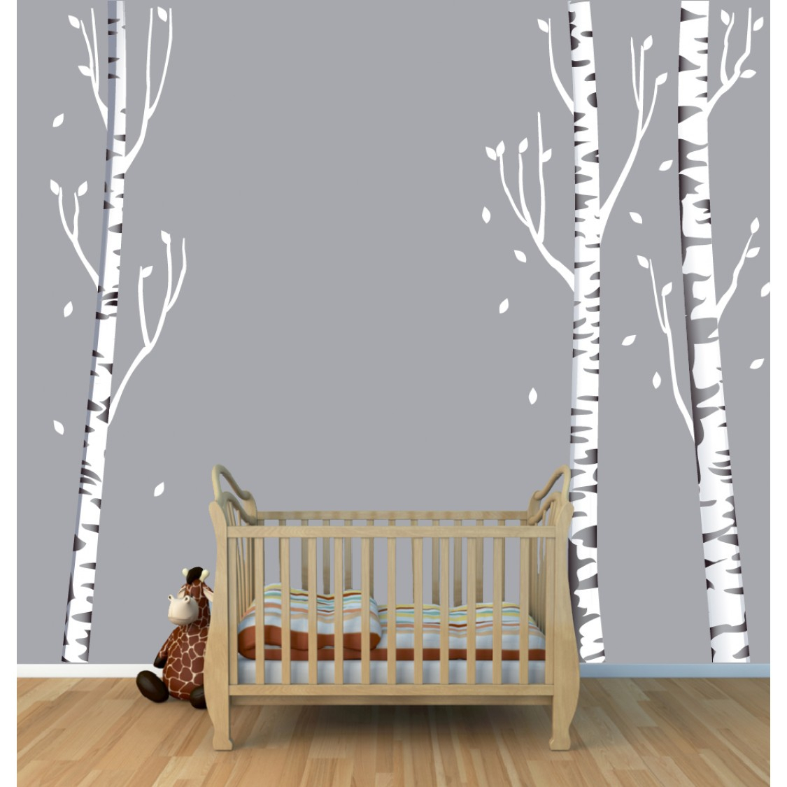 Three Grey Birch Tree Decals – Gradient In Tree Wall Decor (View 24 of 30)